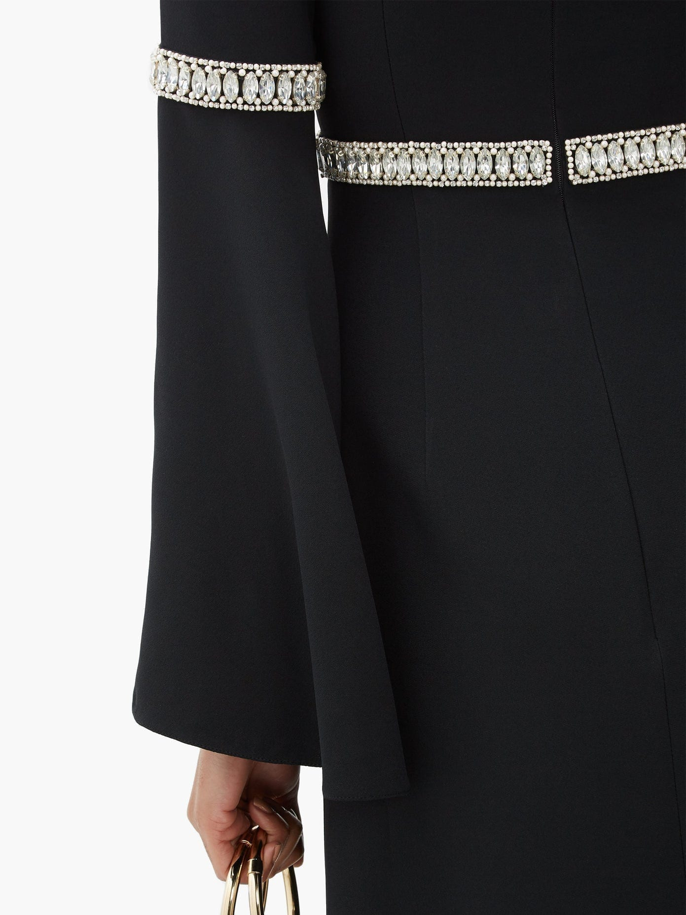 ANDREW GN Flare Sleeve Crystal-embellished Crepe Gown