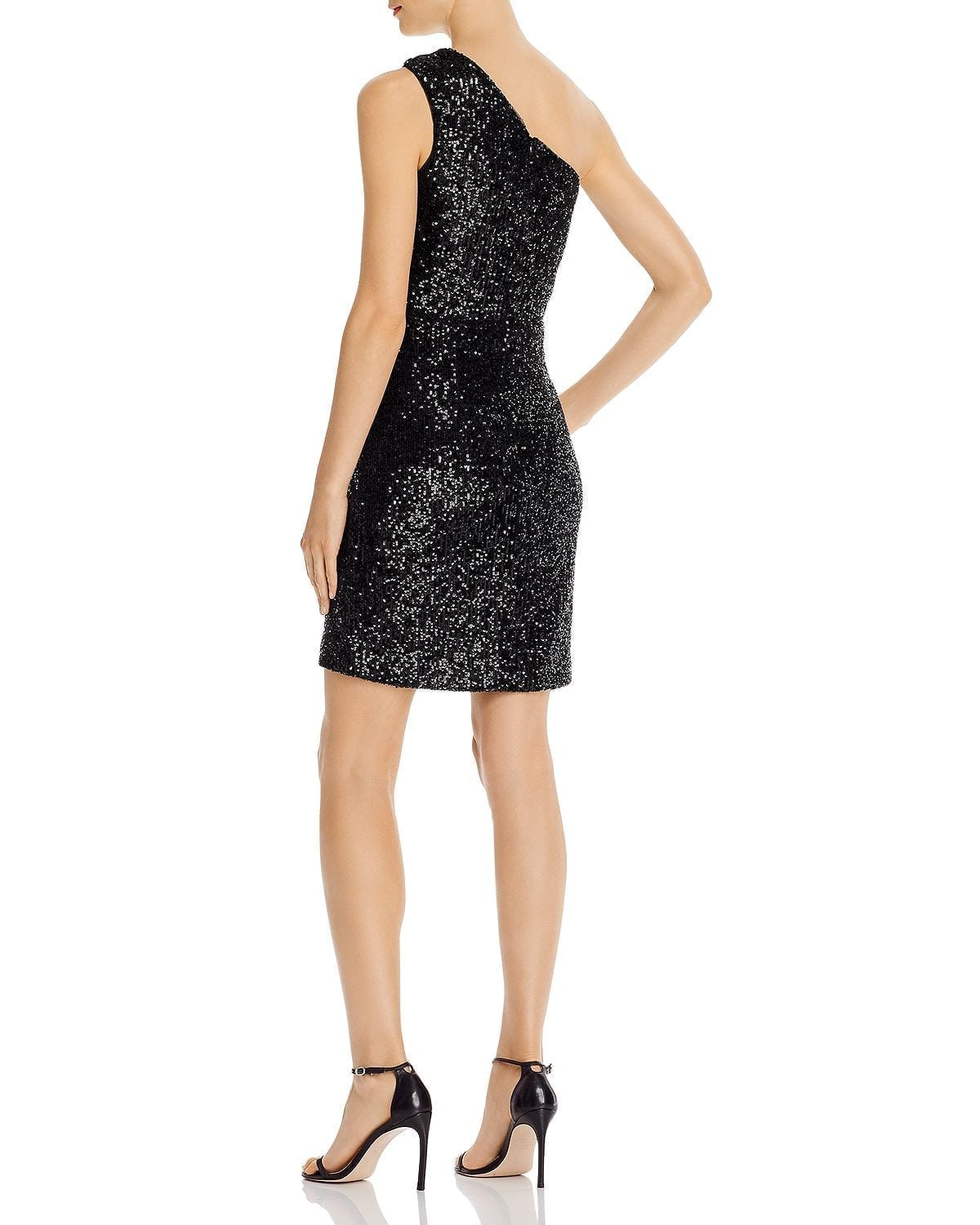 AQUA Sequined One-Shoulder Cocktail Dress
