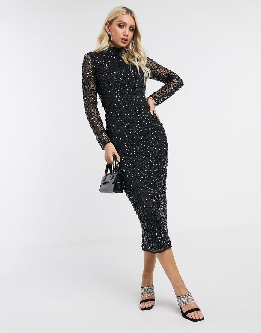 ASOS DESIGN All Over Gem Embellished Midi Dress