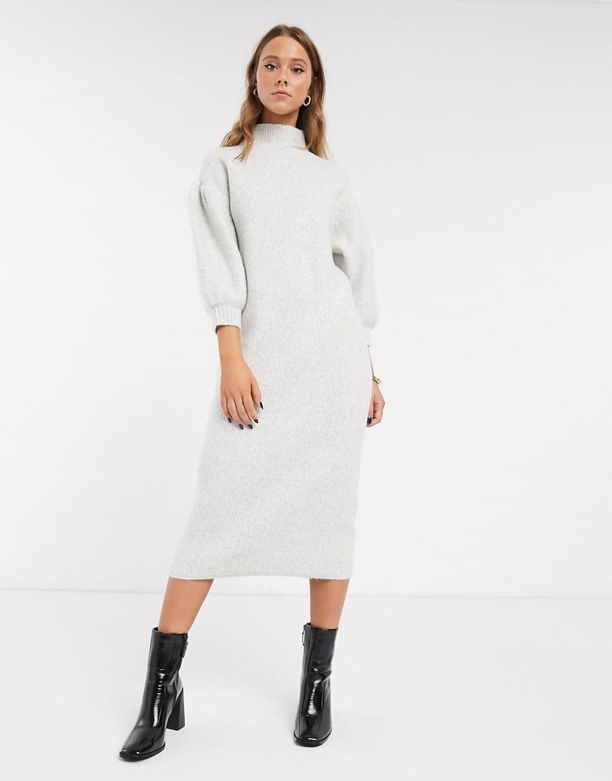 ASOS DESIGN Balloon Sleeve High Neck Midi Dress