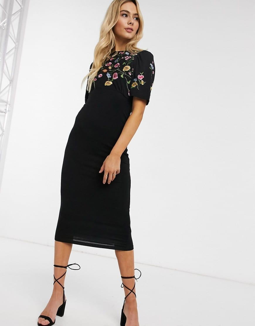 ASOS DESIGN Embroidered Midi Dress