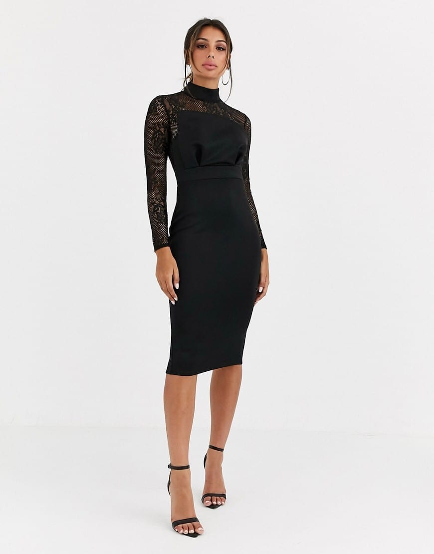 ASOS DESIGN Long Sleeve Lace Scuba Mix Pencil Midi Dress