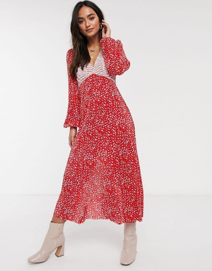 ASOS DESIGN Mixed Spot Plisse Dress