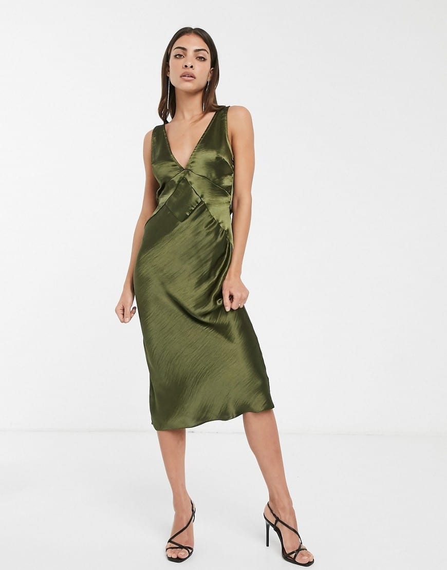 ASOS DESIGN Paneled Satin Midi Dress