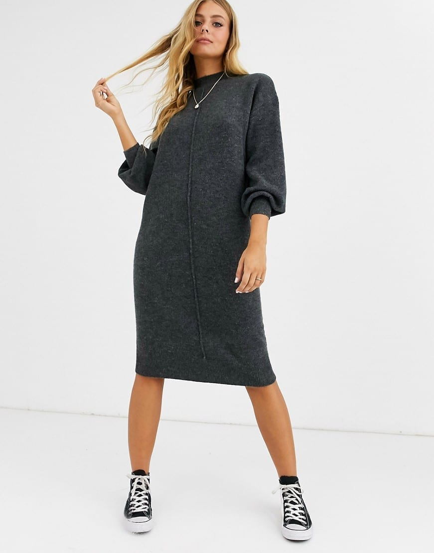 ASOS DESIGN Seam Detail Fluffy Midi Dress