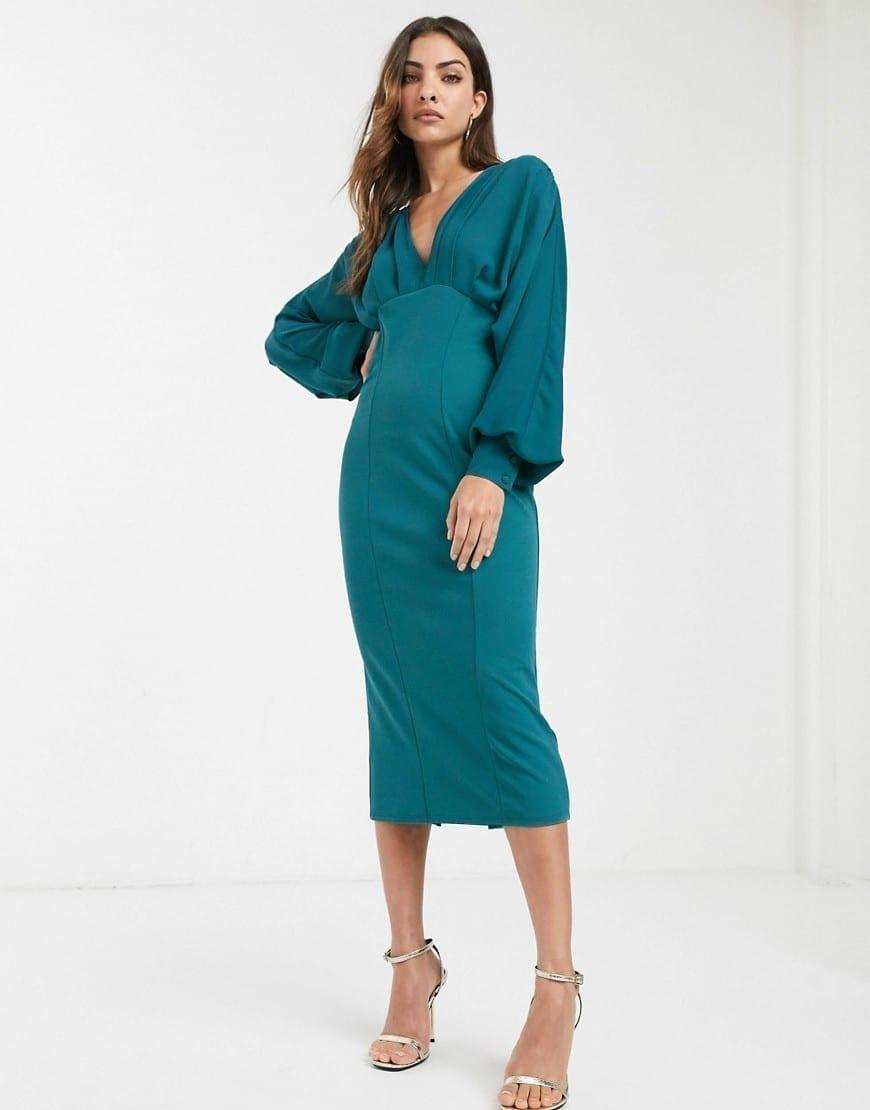 ASOS DESIGN V Neck Woven Mix Pencil Dress