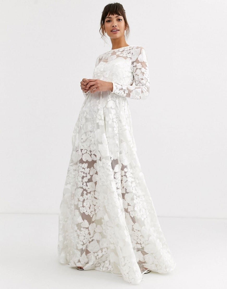 ASOS EDITION Open Back And Floral Embroidery Wedding Dress