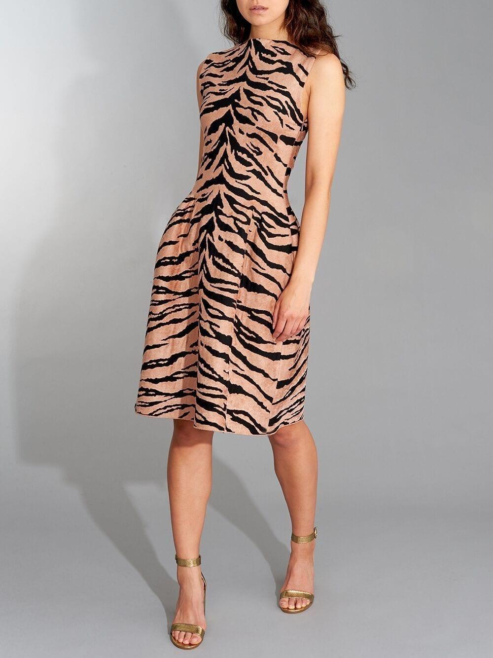 AZZEDINE ALAÏA Sleeveless Boat Neck Zebra A-Line Dress