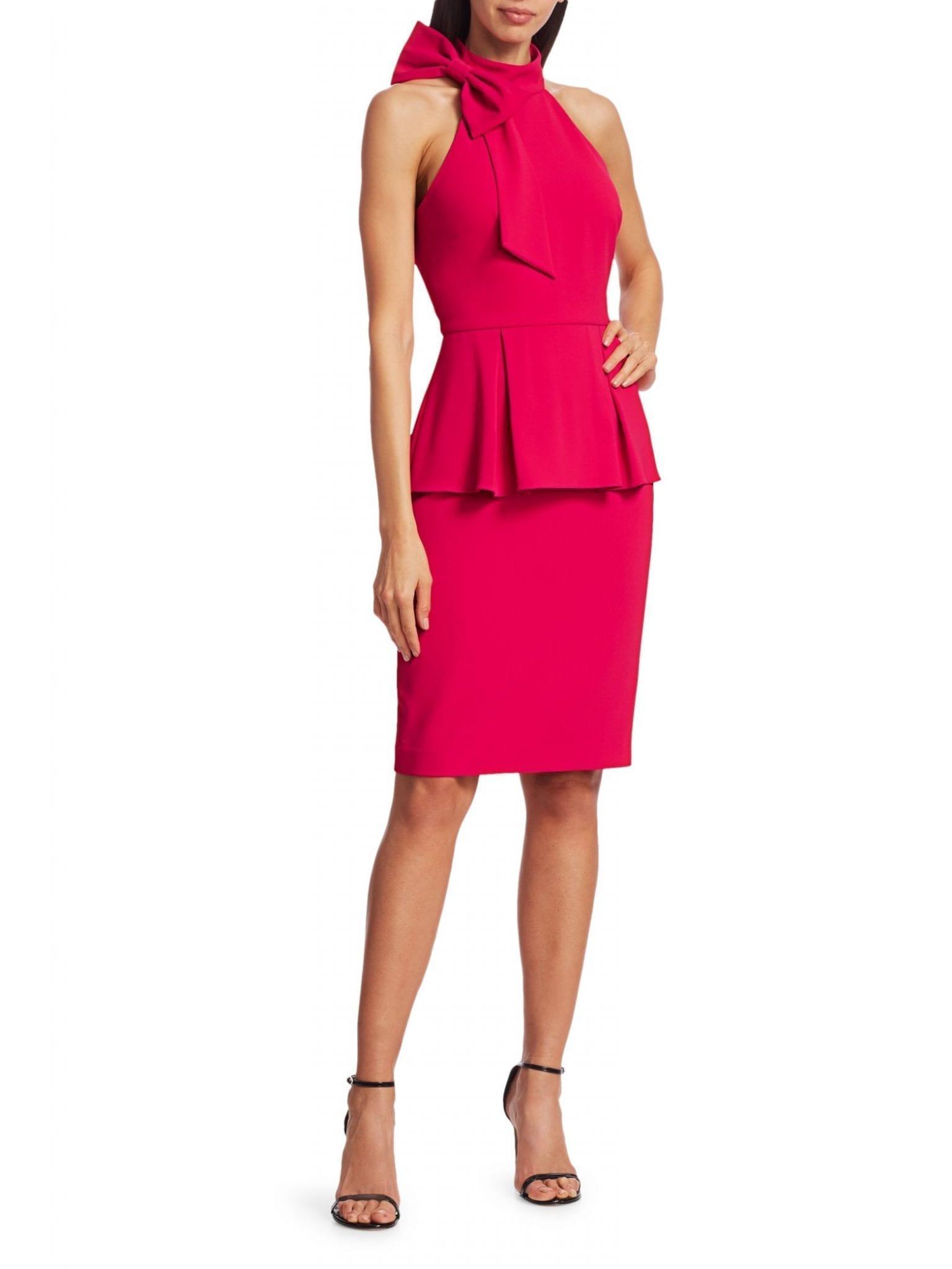 BADGLEY MISCHKA Crepe Jersey Peplum Sheath Dress