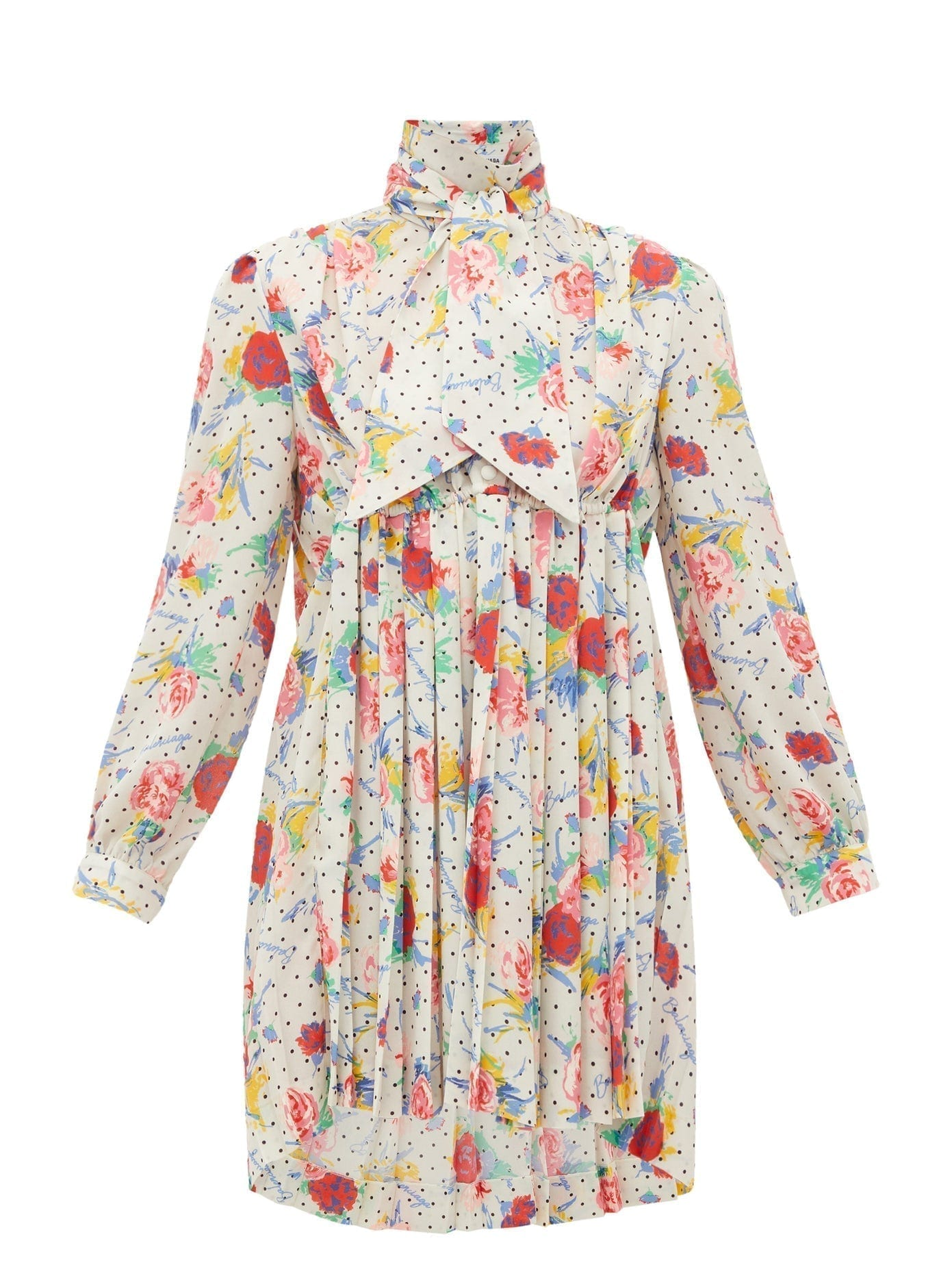 BALENCIAGA High-Neck Floral-Print Pleated-Front Crepe Dress