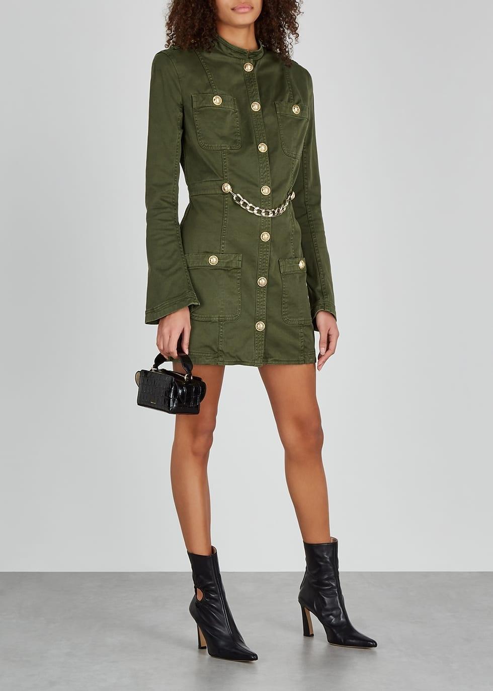 BALMAIN Army Green Stretch-denim Mini Dress