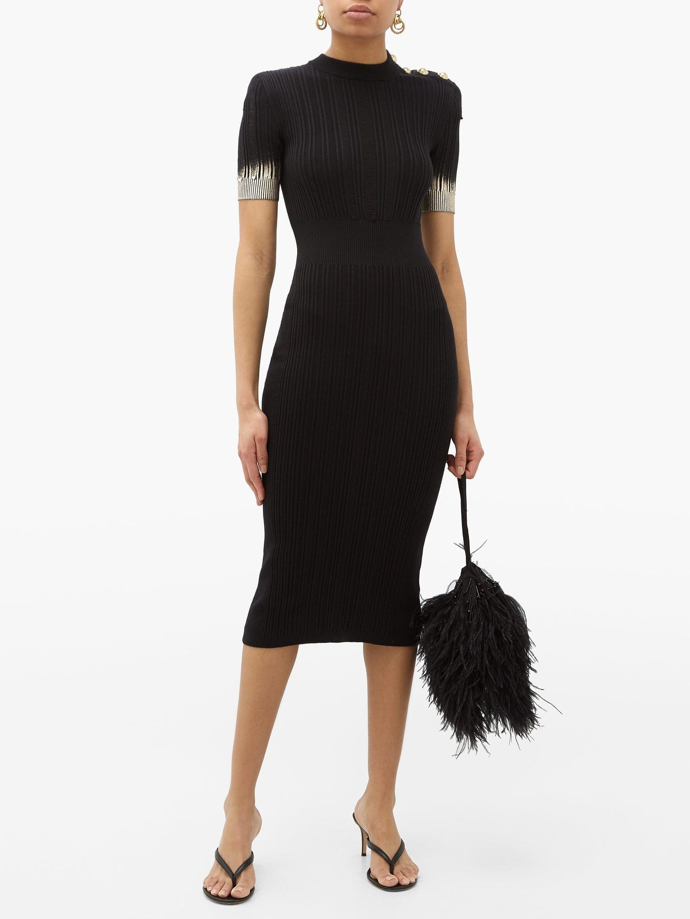 BALMAIN Metallic-sleeve Knitted Midi Dress