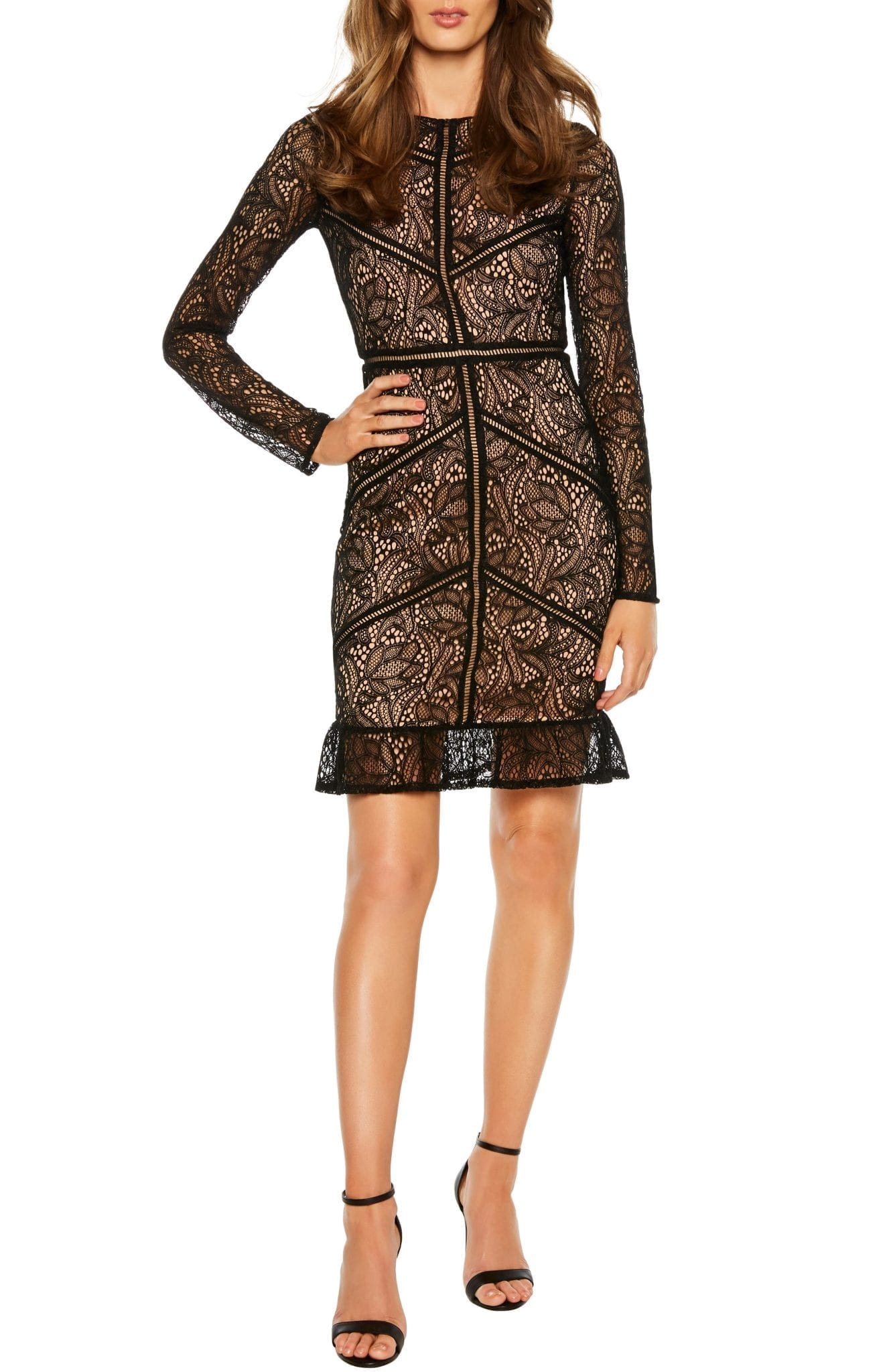 BARDOT Sasha Long Sleeve Lace Cocktail Mini Dress