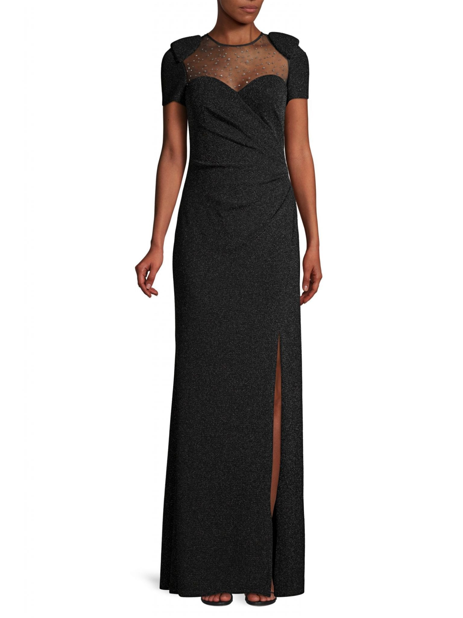 BASIX BLACK LABEL Glitter Beaded Illusion Neckline Gown