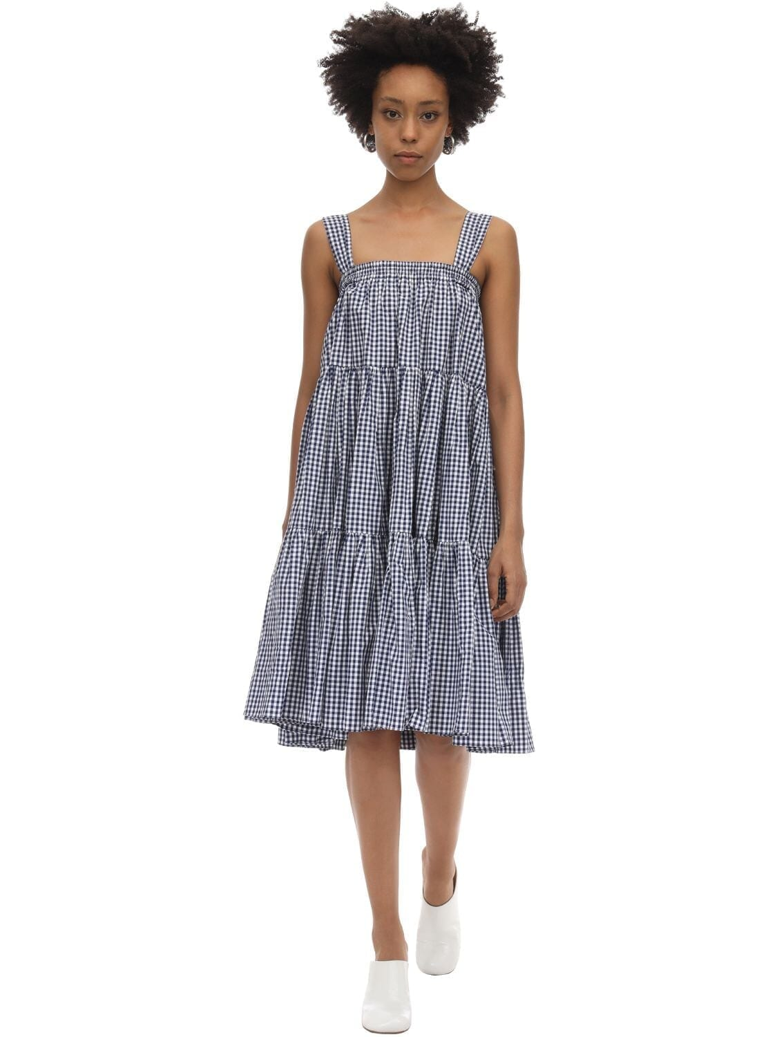 BATSHEVA Amy Printed Cotton Ruffled Skirt Dress