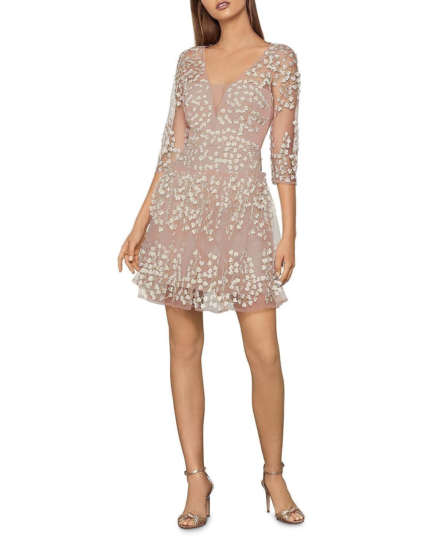 BCBGMAXAZRIA Floral-Appliqué Dress