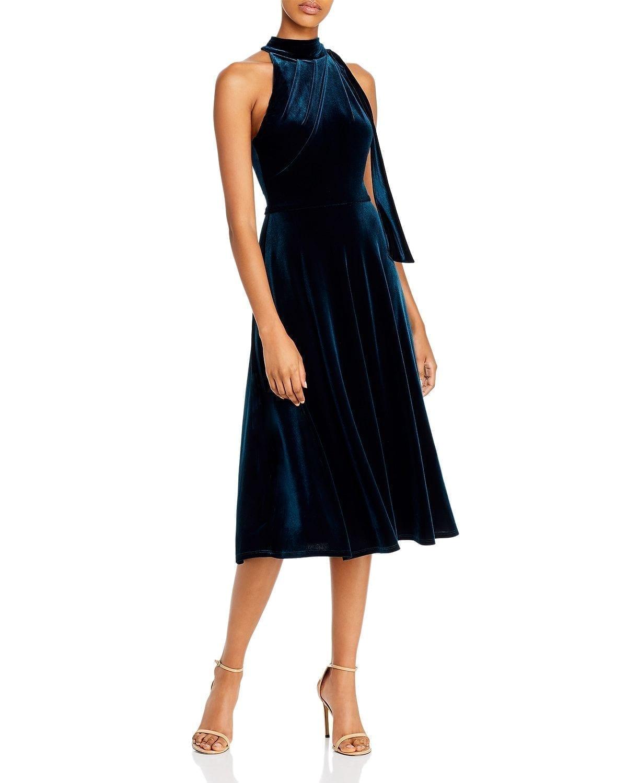 BLACK HALO Audrey Velvet High-Neck Dress