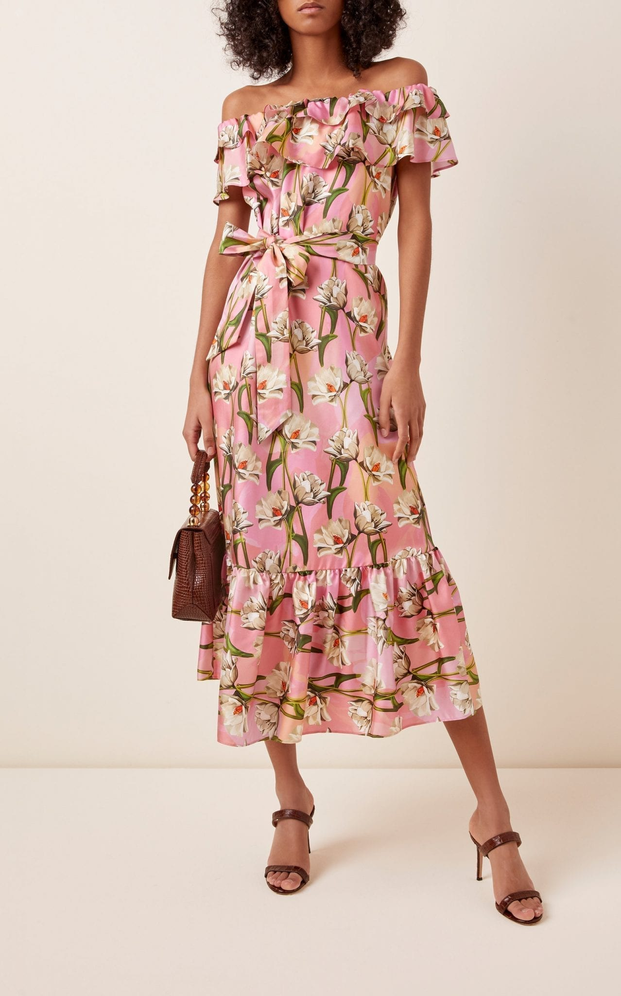 BORGO DE NOR Agata Ruffled Floral-Print Silk-Blend Midi Dress