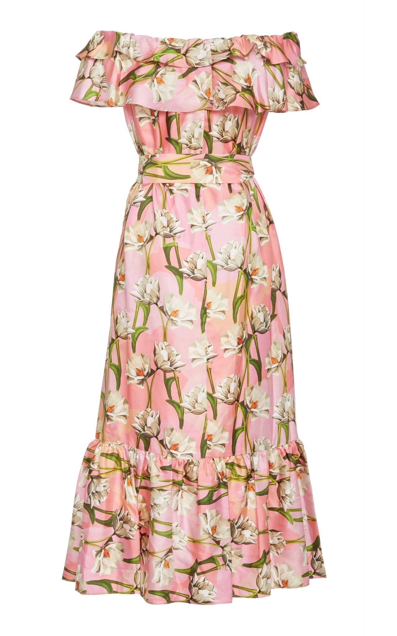 BORGO DE NOR Agata Ruffled Floral-Print Silk-Blend Midi Dress