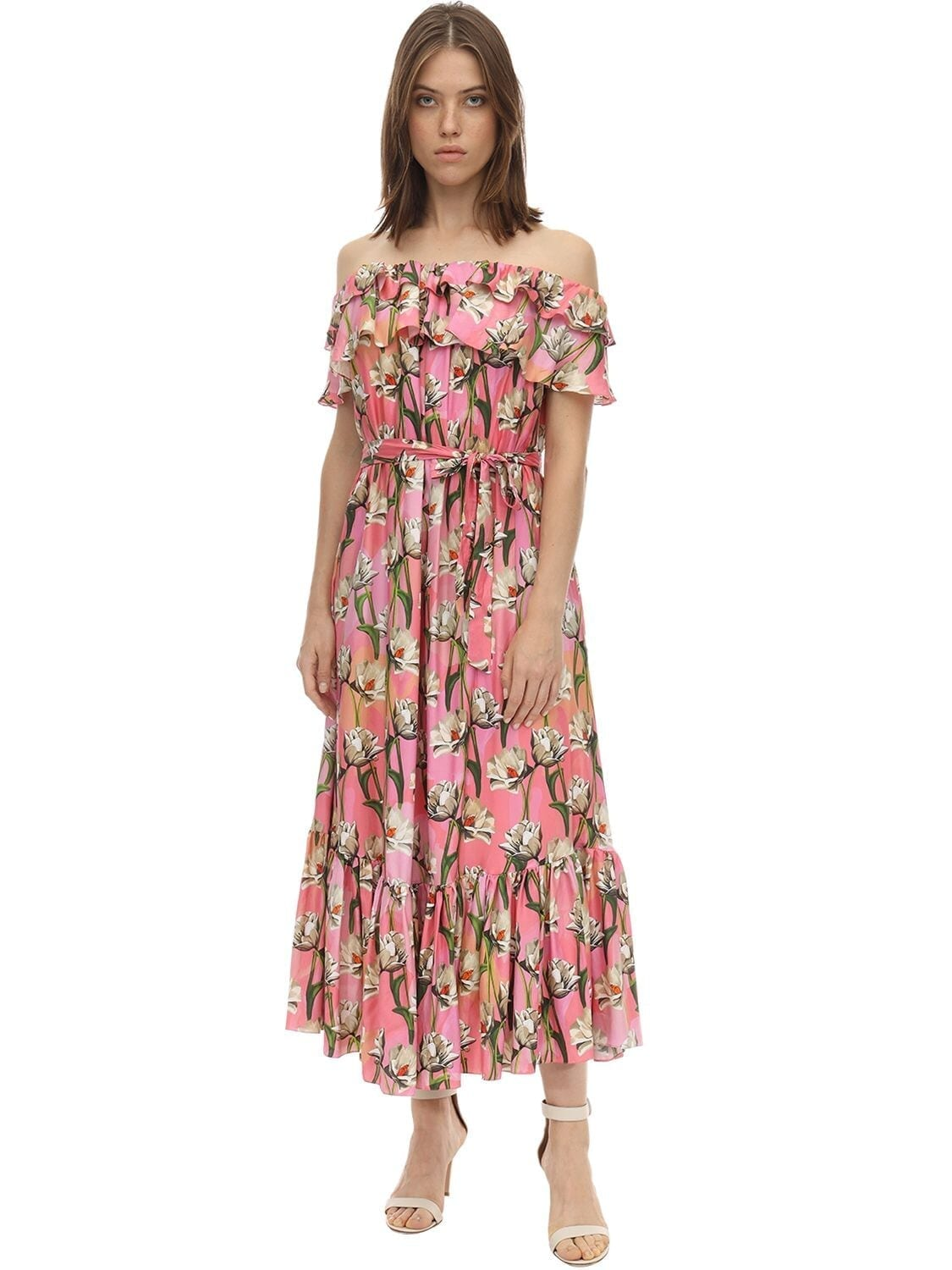BORGO DE NOR Agata Twill Off-the-shoulder Midi Dress