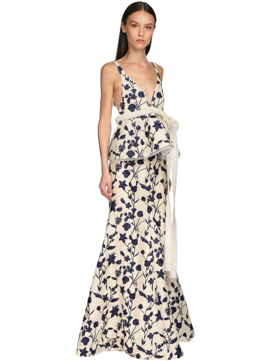 BROCK COLLECTION Flower Embroidered Satin Long Dress