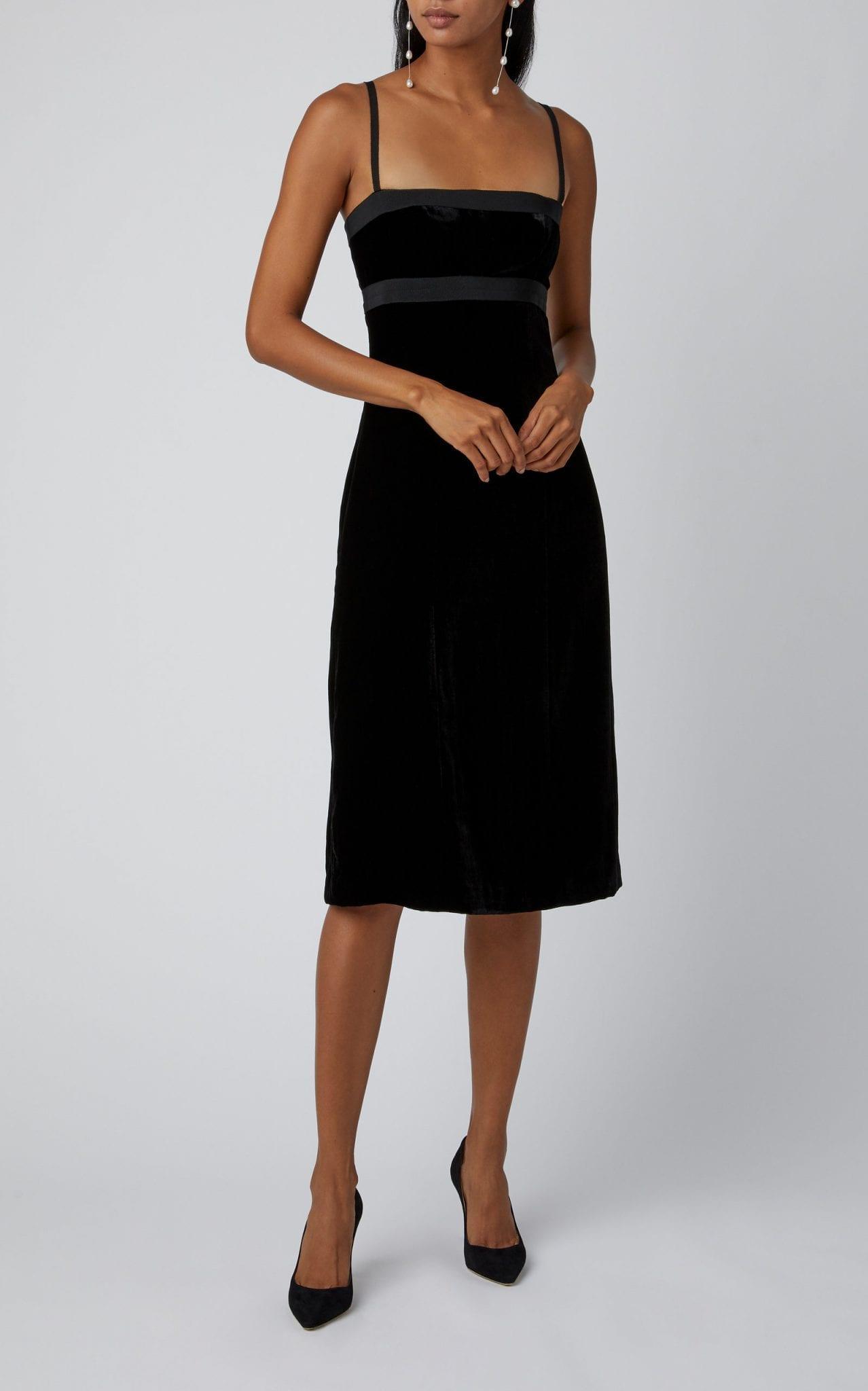 BROCK COLLECTION Grosgrain-Trimmed Velvet Midi Dress