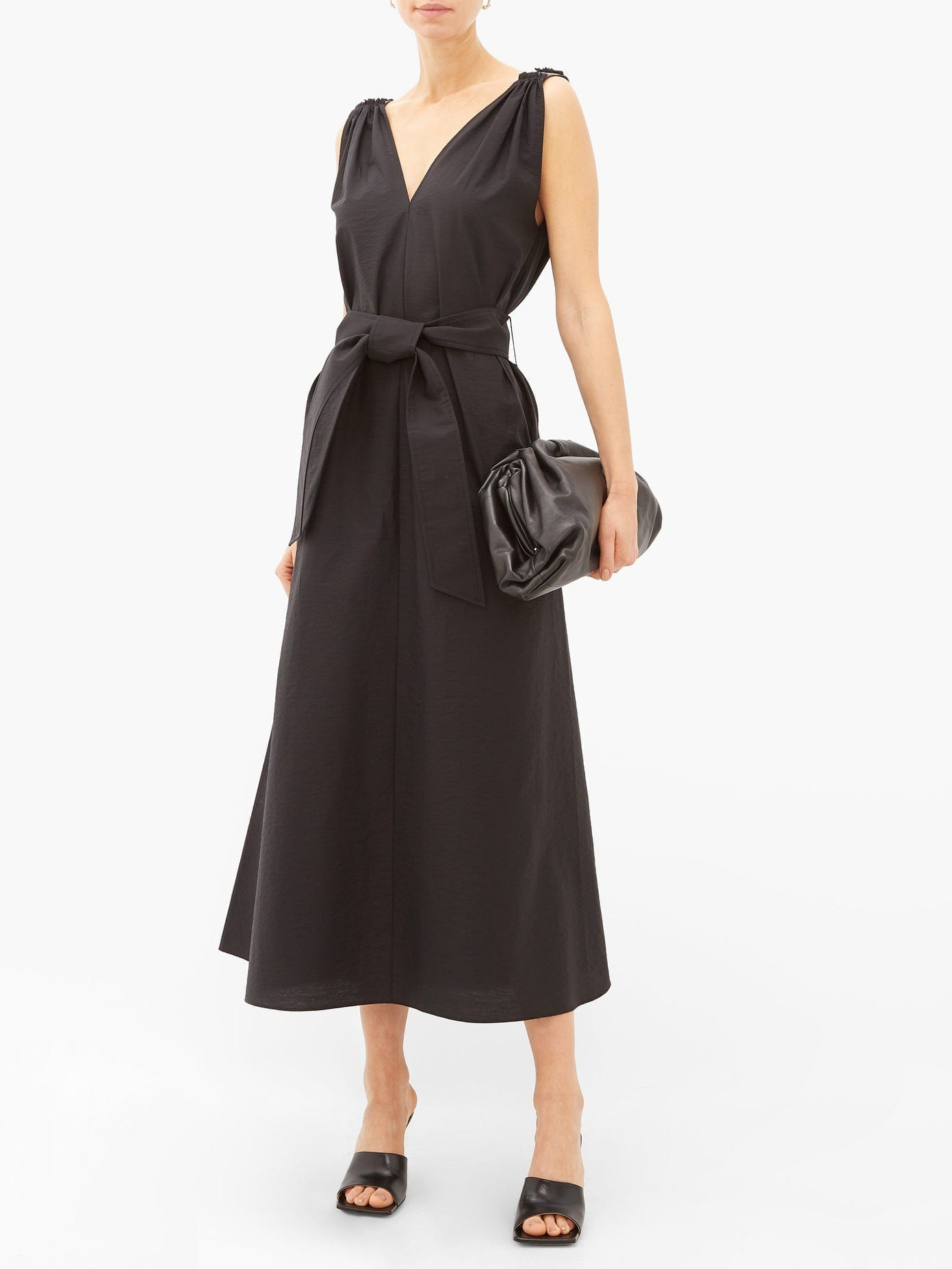 BRUNELLO CUCINELLI Shoulder-embellished Belted Poplin Dress