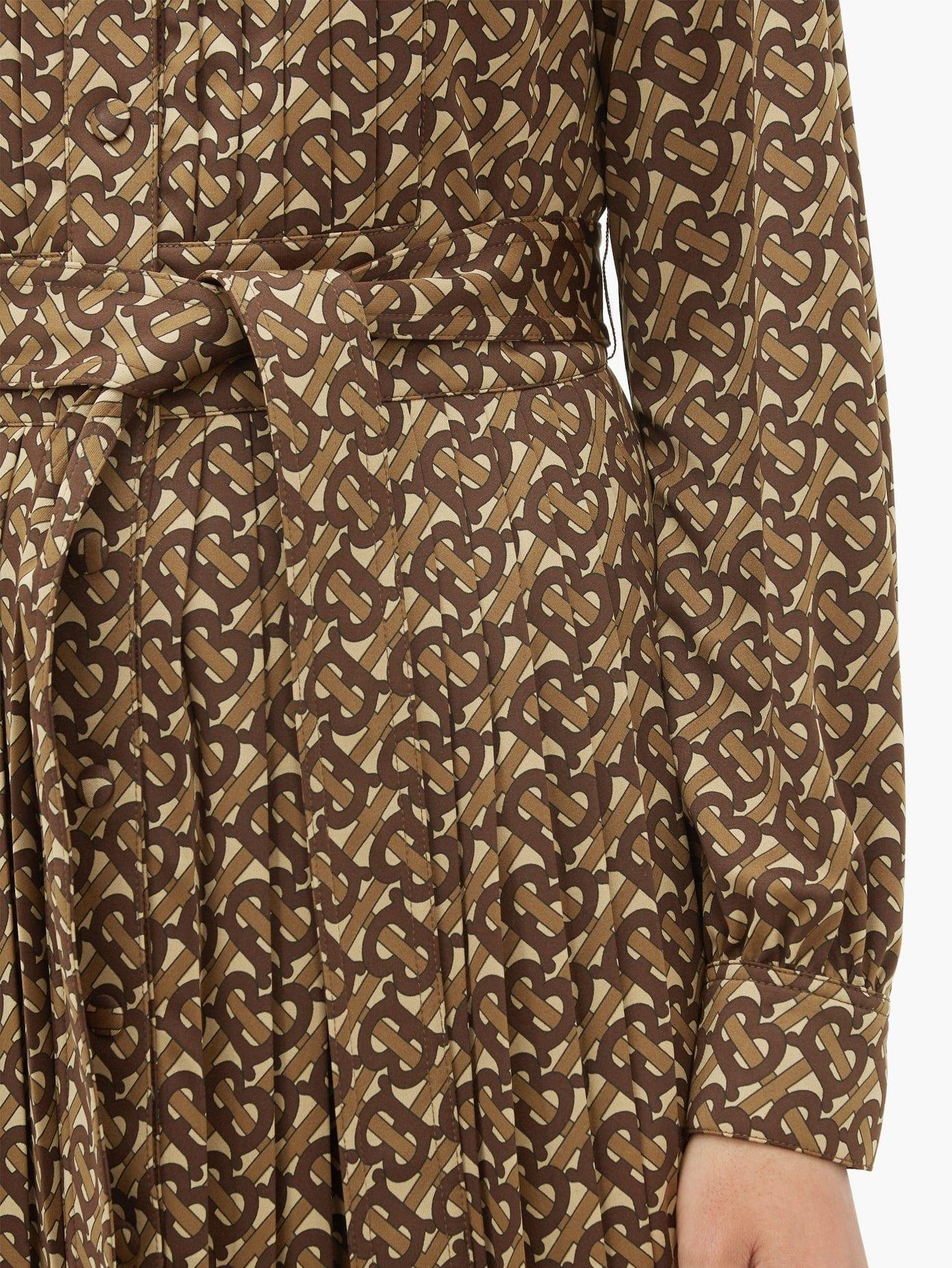 BURBERRY Fedora Pleated Tb-Monogram Dress