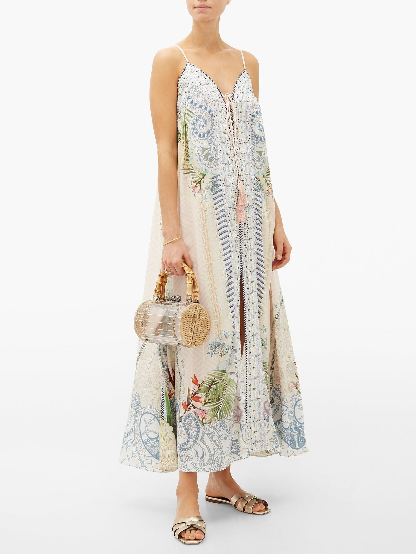 CAMILLA Beach Shack Lace-up Silk Maxi Dress