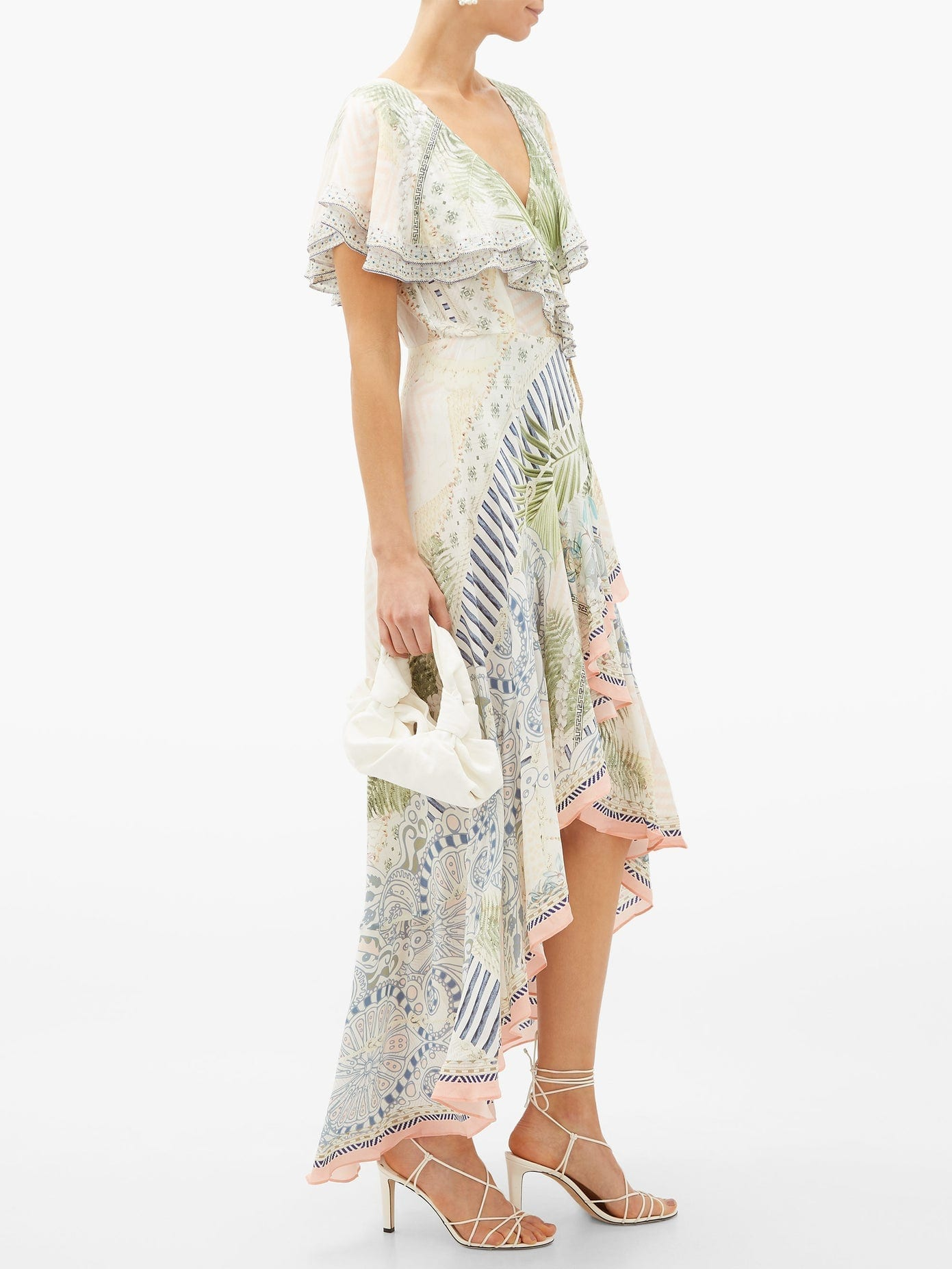 CAMILLA Beach Shack Ruffled Silk Wrap Dress