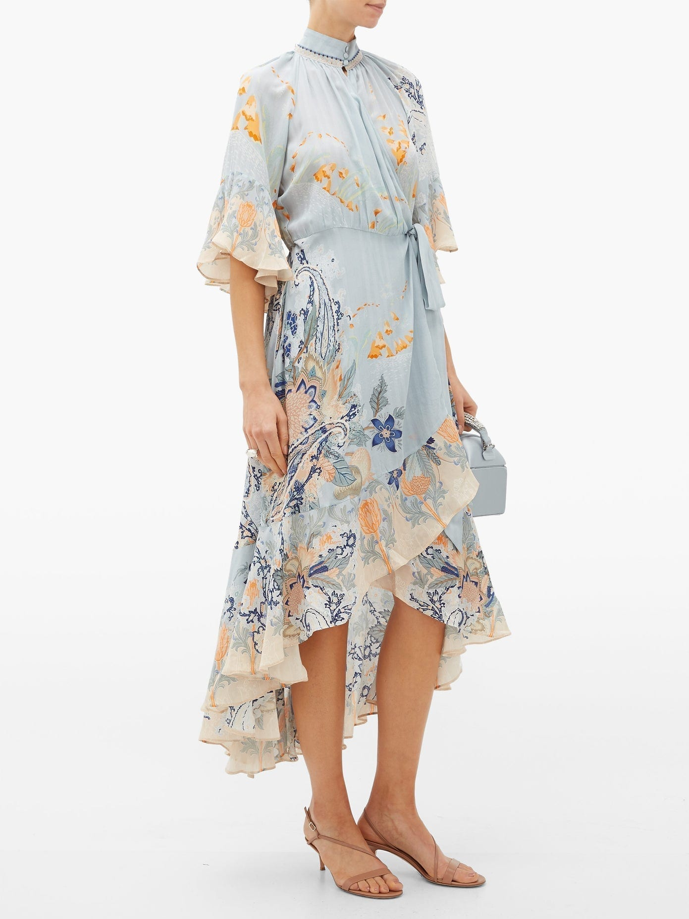 CAMILLA Blue Base High-neck Silk Wrap Dress