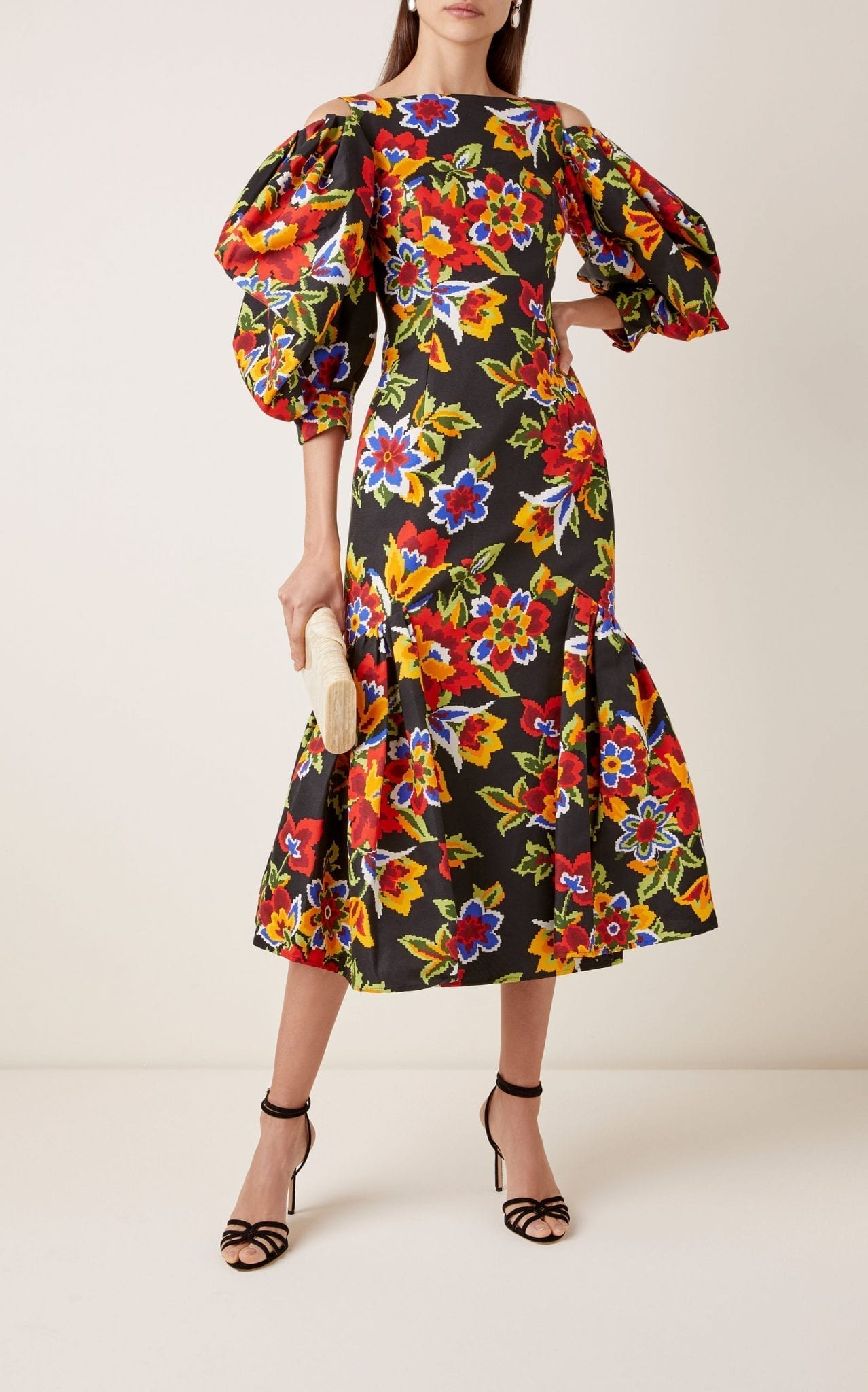 CAROLINA HERRERA Cold-Shoulder Floral Cotton And Silk-Blend Dress