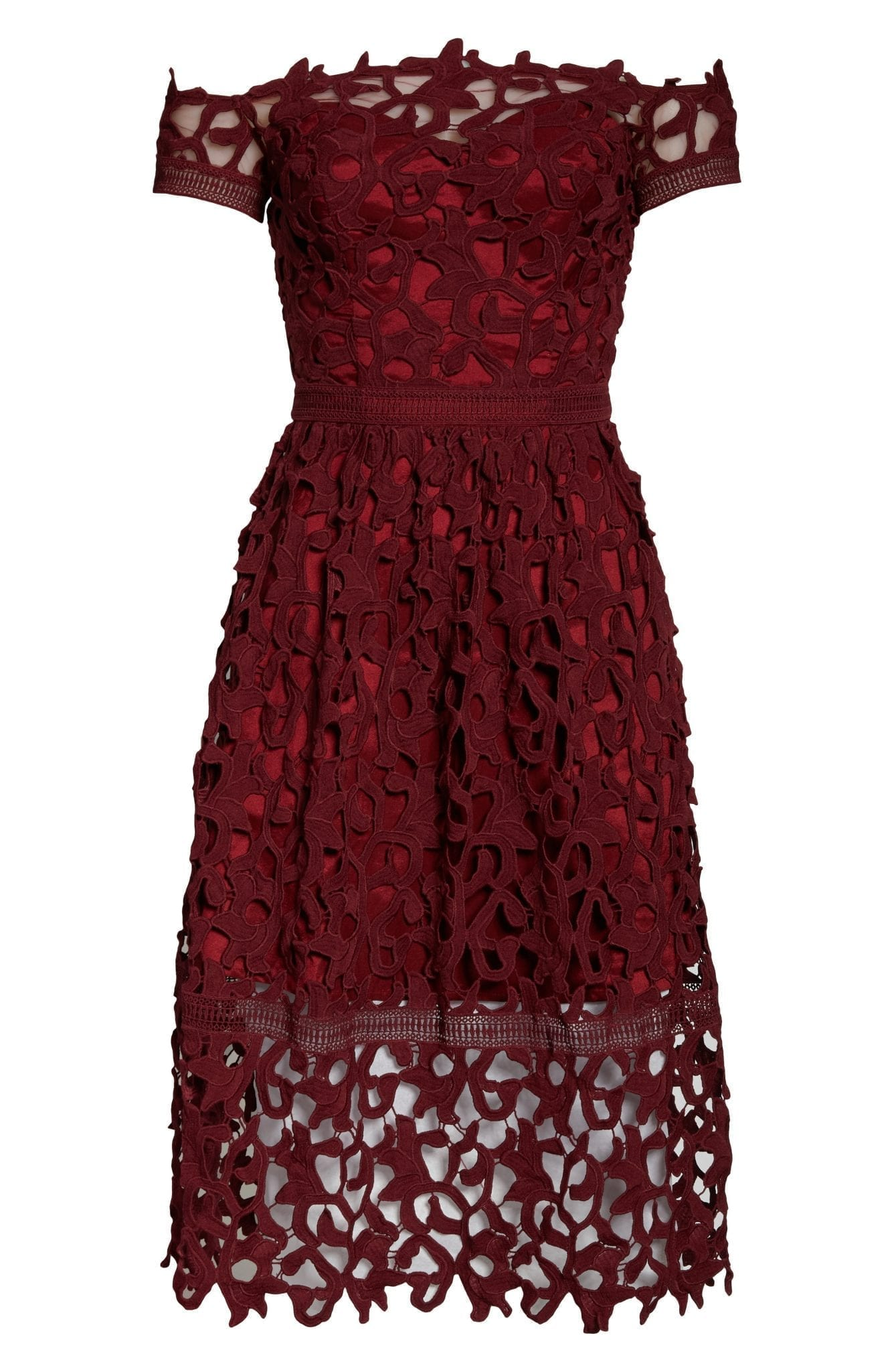 CHI CHI LONDON Off the Shoulder Lace Cocktail Dress