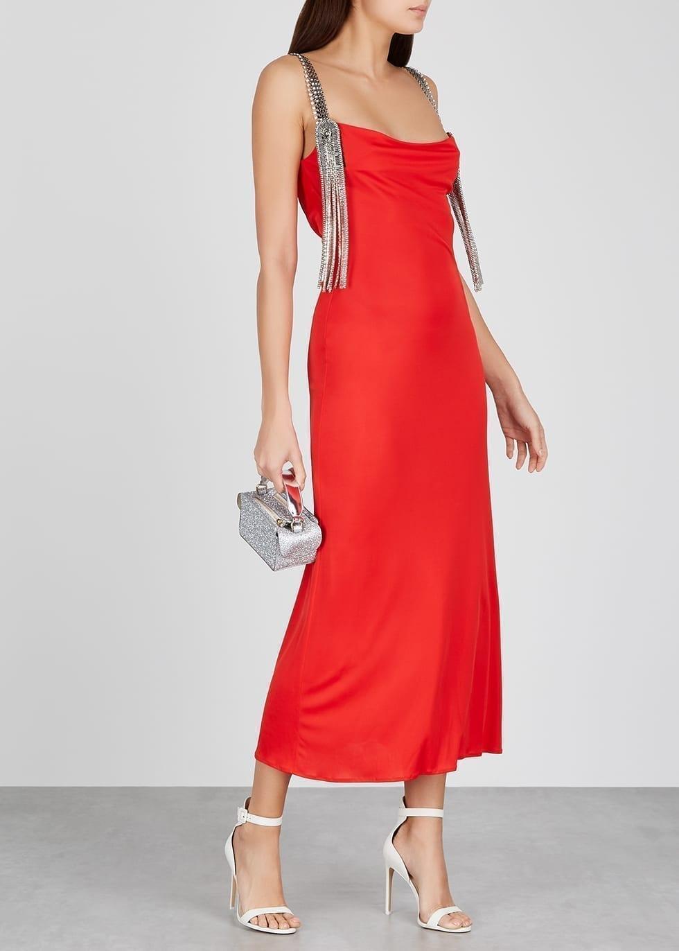 CHRISTOPHER KANE Red Embellished Jersey Dress