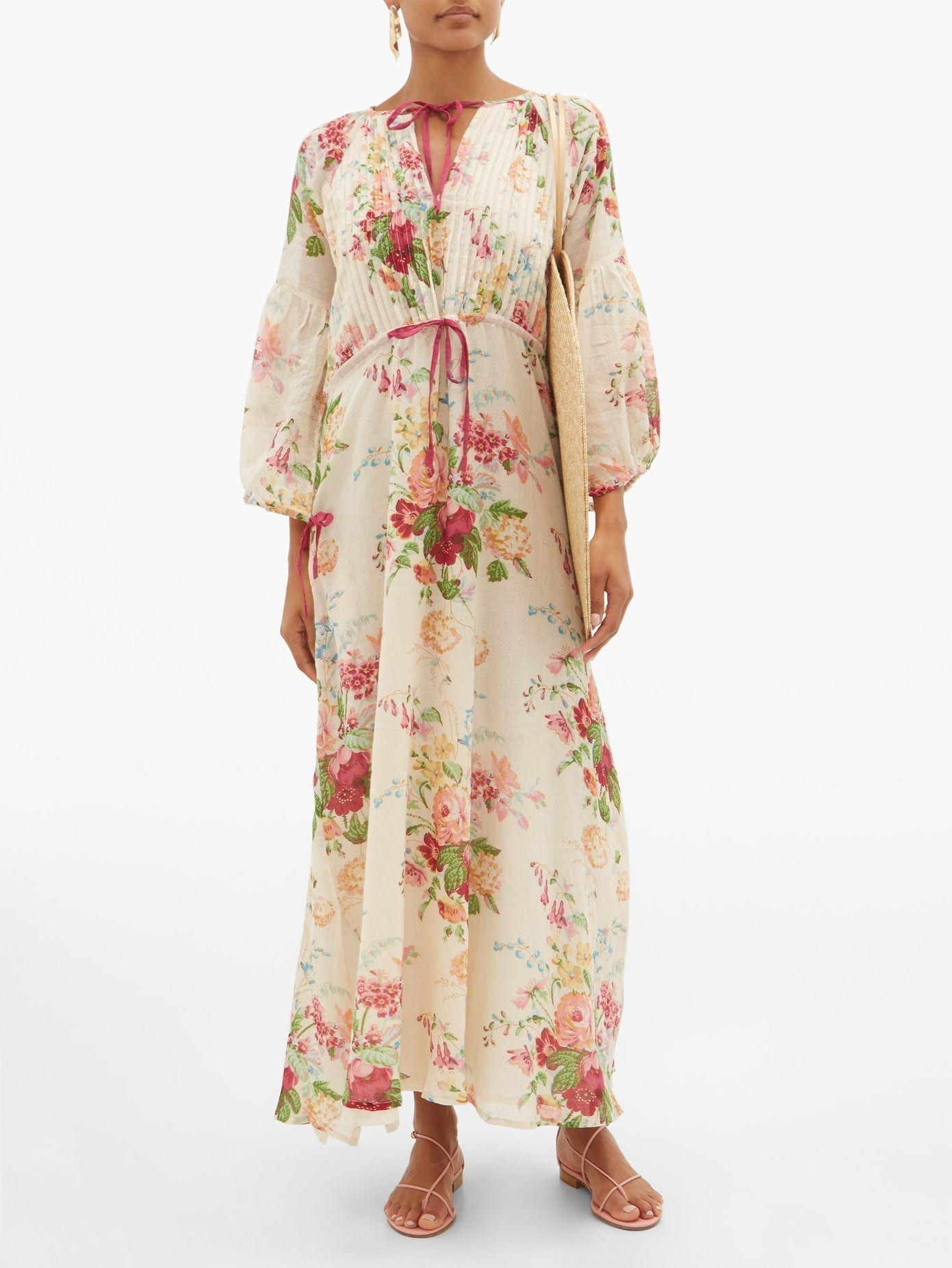 D'ASCOLI Clarita Drawstring Floral-print Cotton Maxi Dress