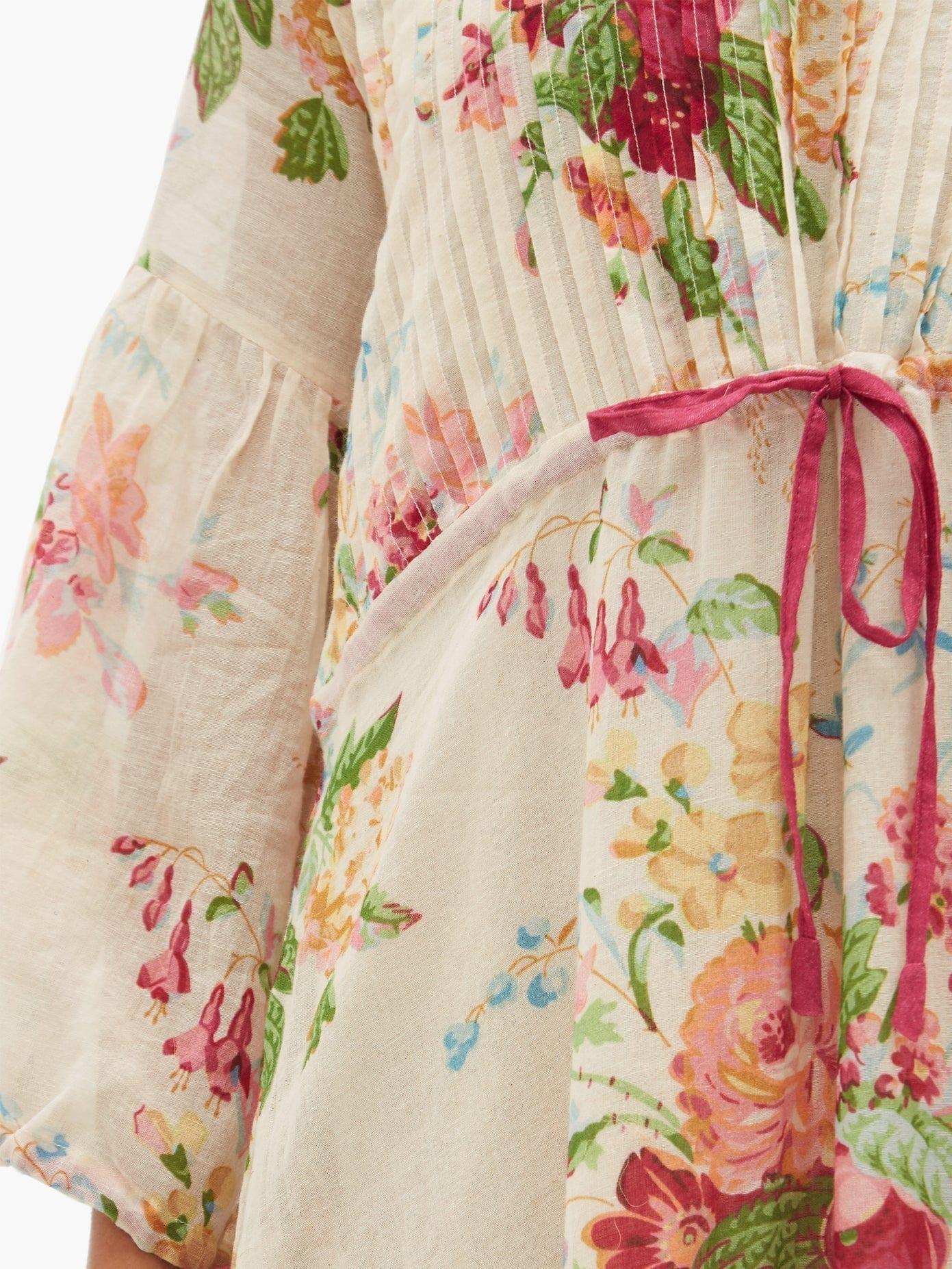 D'ASCOLI Clarita Drawstring Floral-print Cotton Maxi Dress