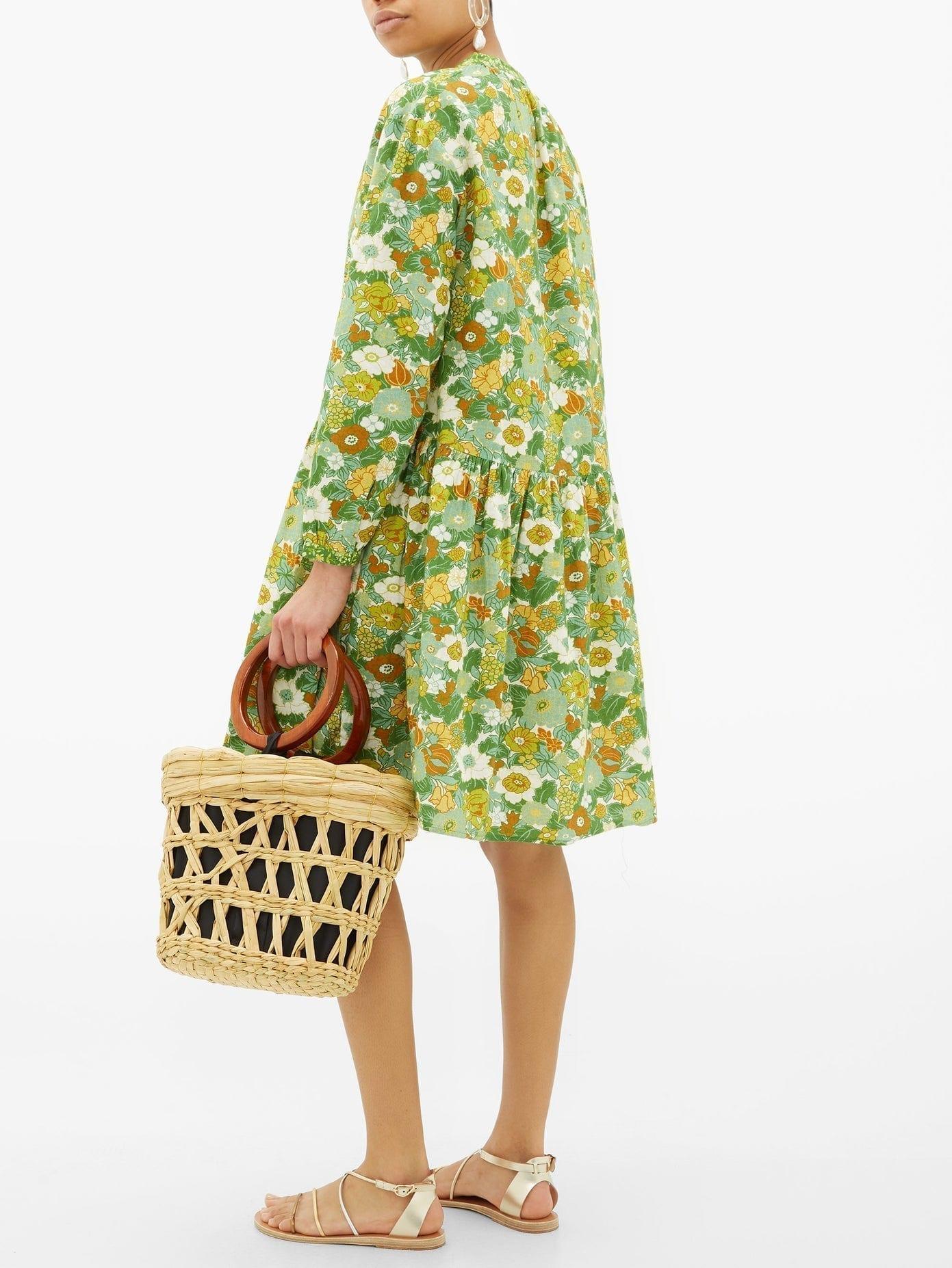 D'ASCOLI Lulu Tie-neck Floral-print Cotton Dress