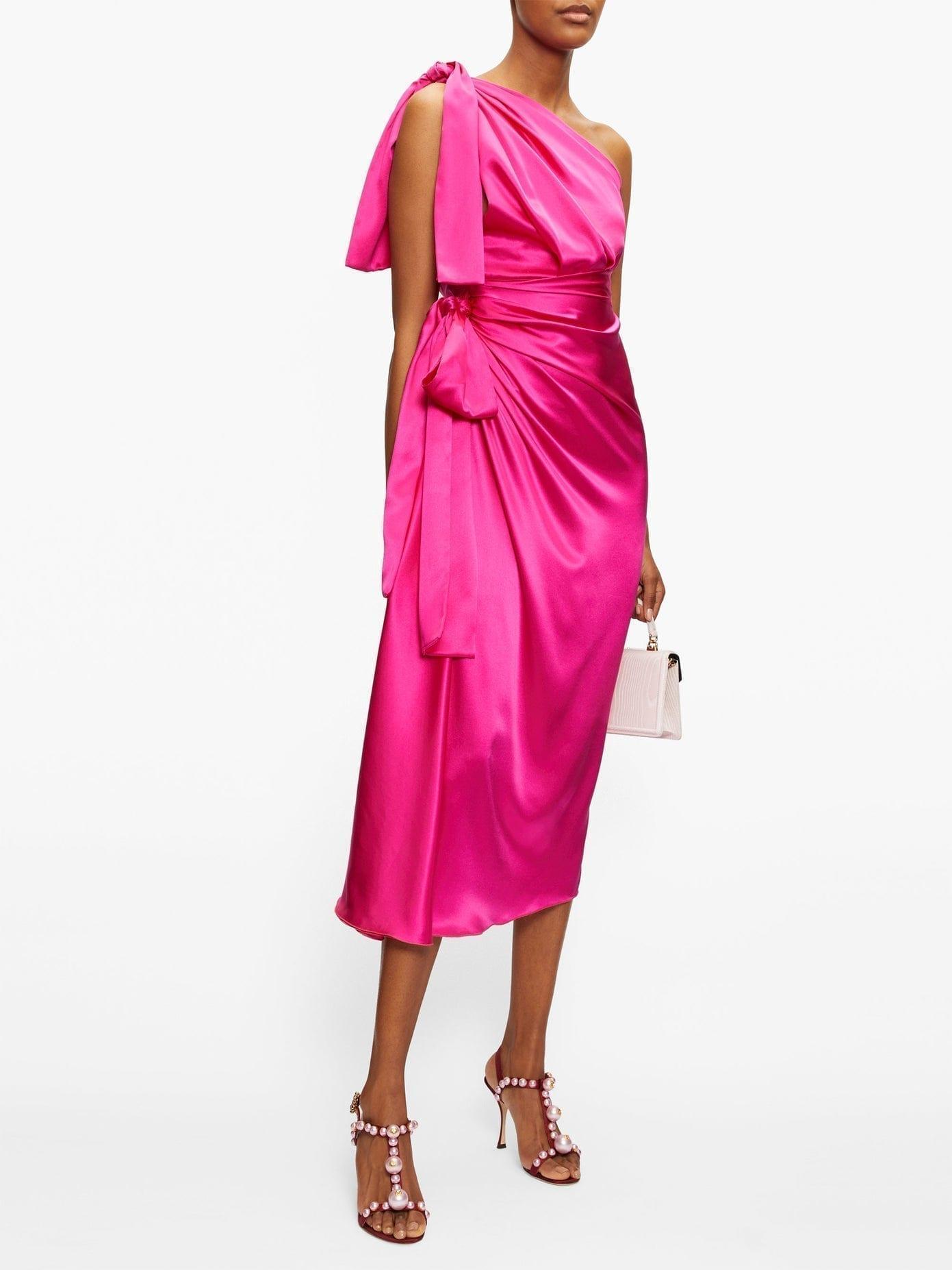 DOLCE & GABBANA Asymmetric Knotted Silk-satin Dress