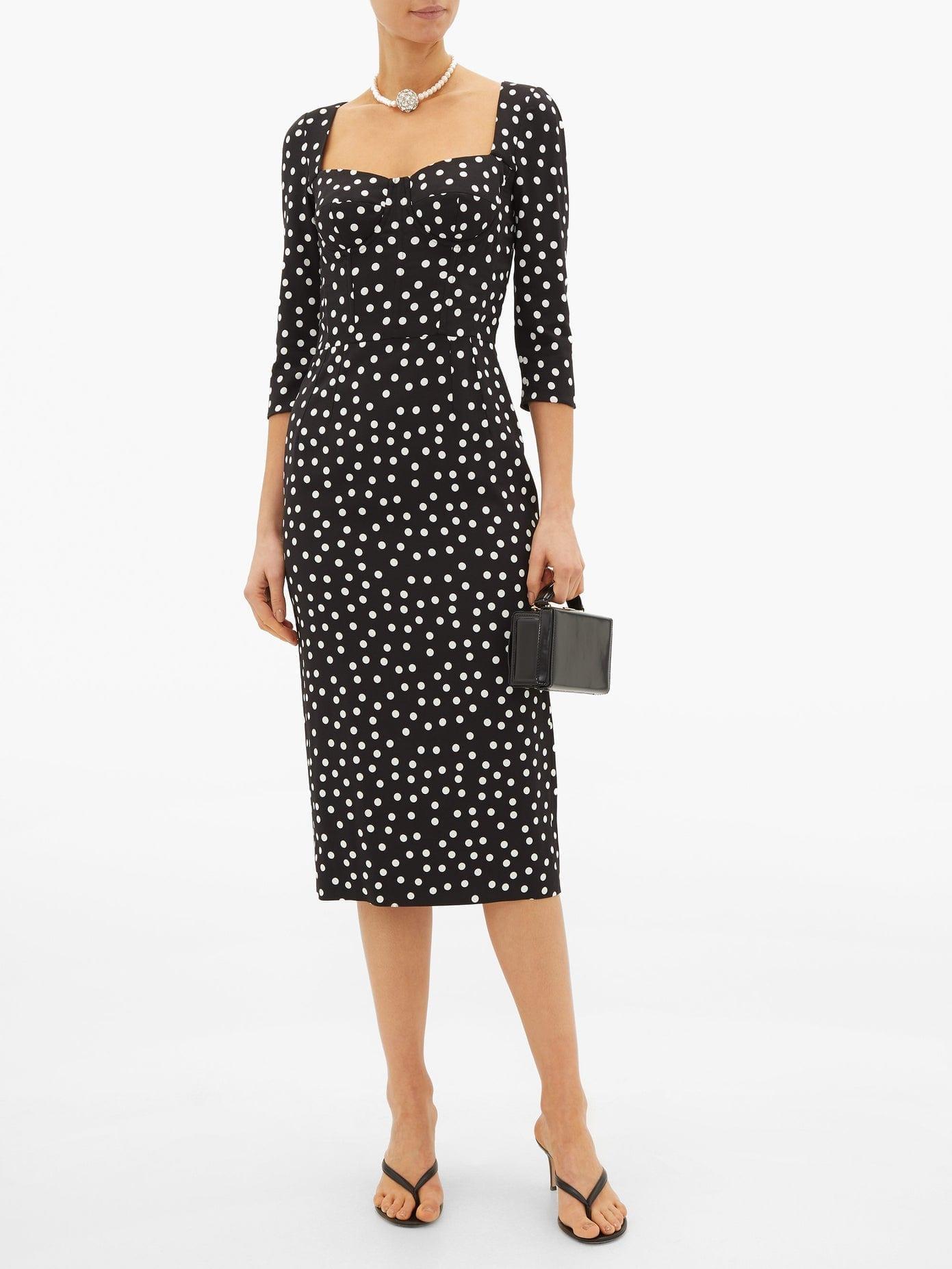 DOLCE & GABBANA Boned-bodice Polka Dot-print Crepe Midi Dress