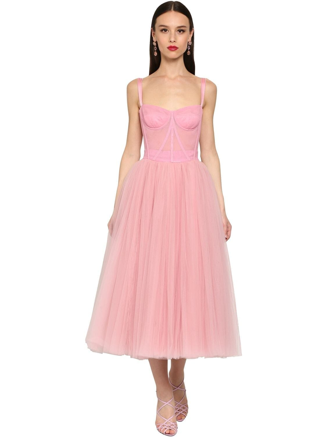 DOLCE & GABBANA Bustier Stretch Tulle Midi Dress