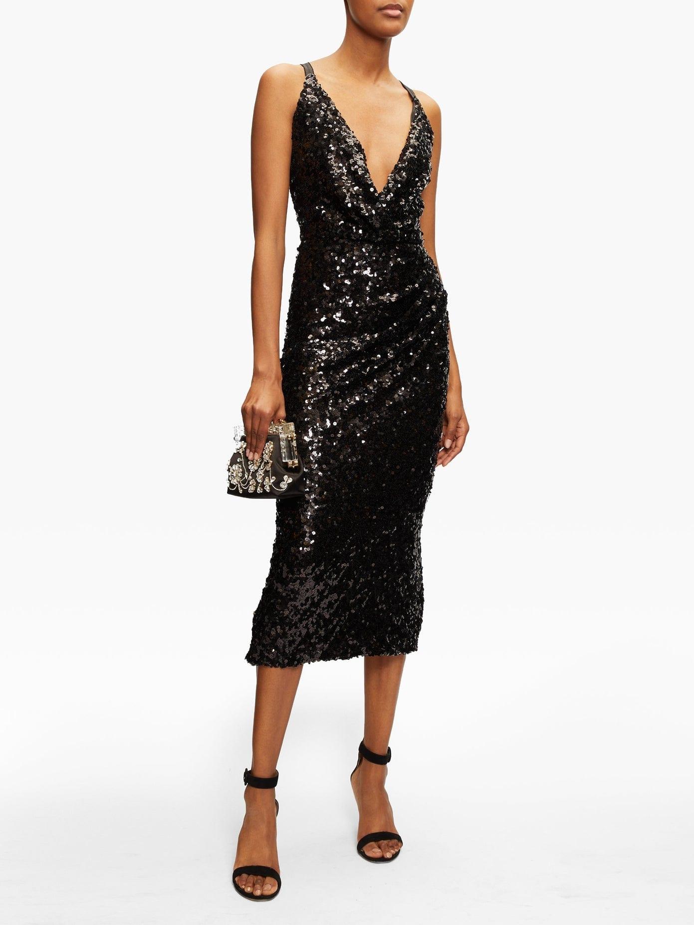 DOLCE & GABBANA Deep V-neck Sequinned Midi Dress