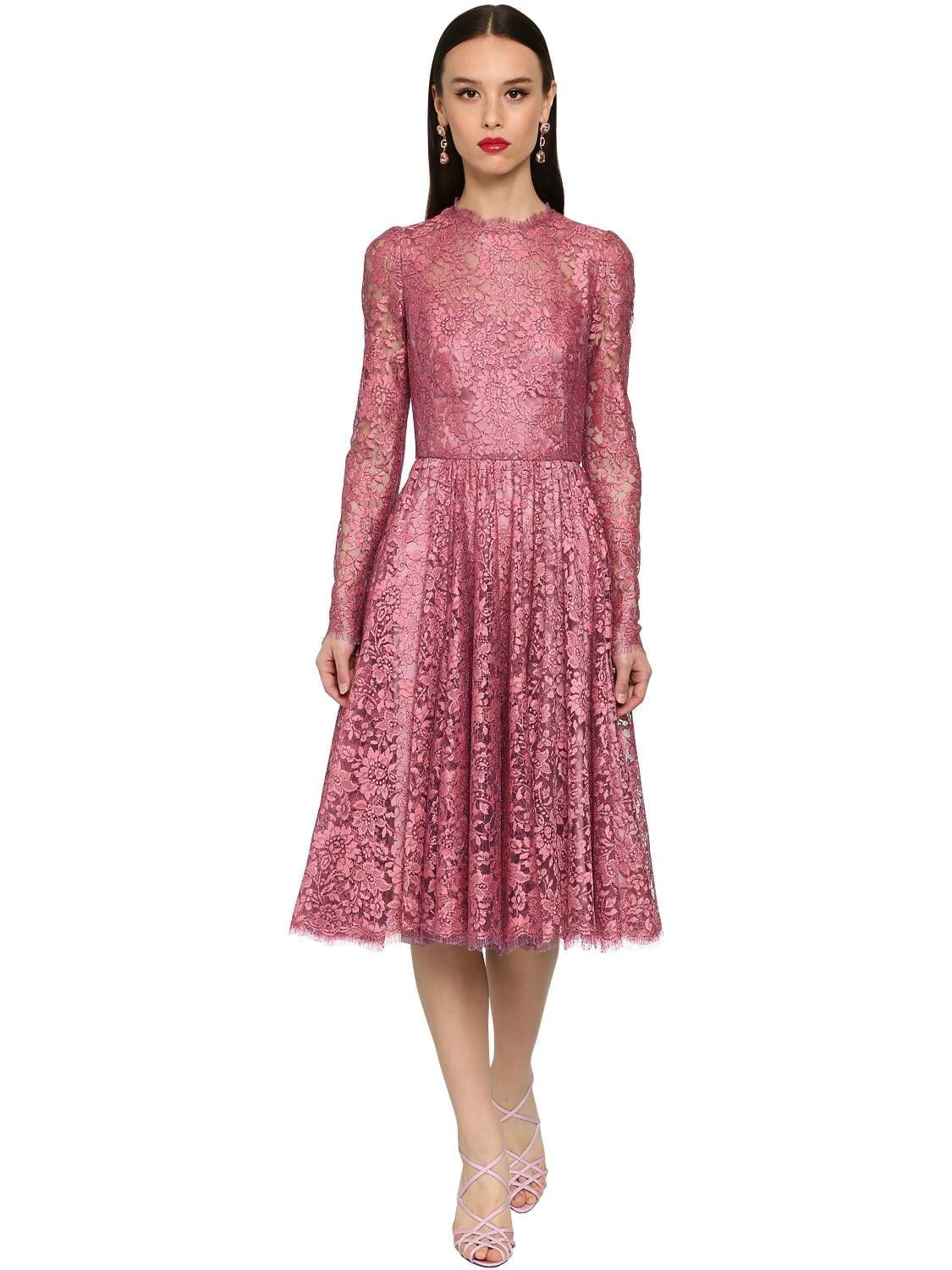 DOLCE & GABBANA Flared Chantilly Lace Lamé Midi Dress