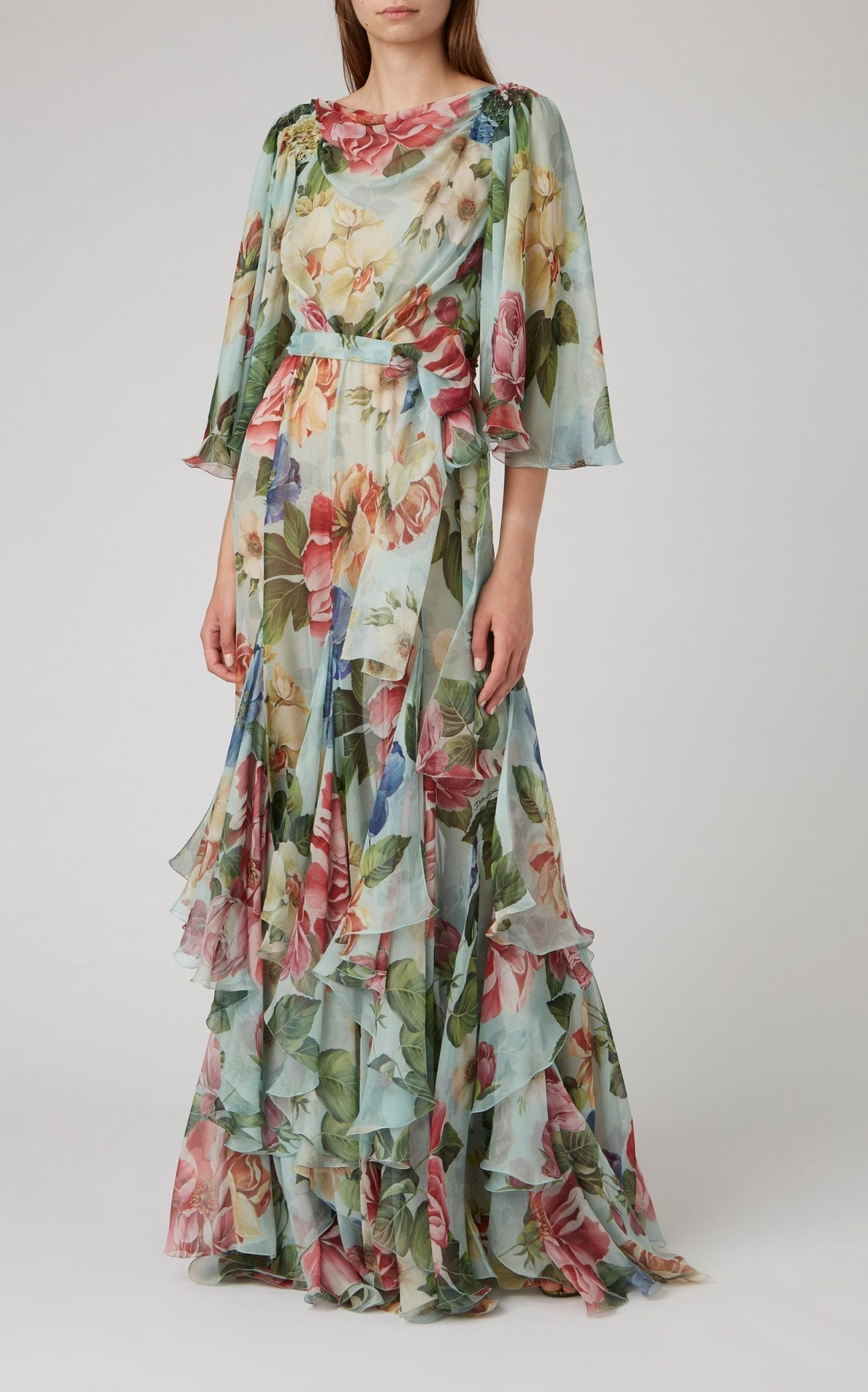 DOLCE & GABBANA Floral-Print Ruffled Silk Gown
