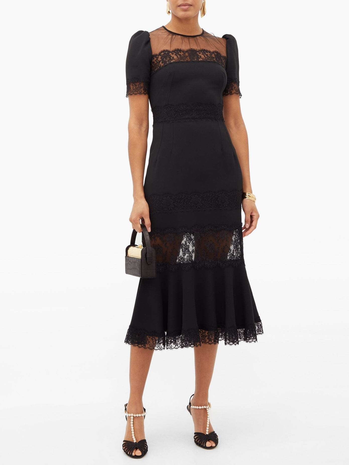 DOLCE & GABBANA Fluted Hem Lace-panelled Cotton Dress