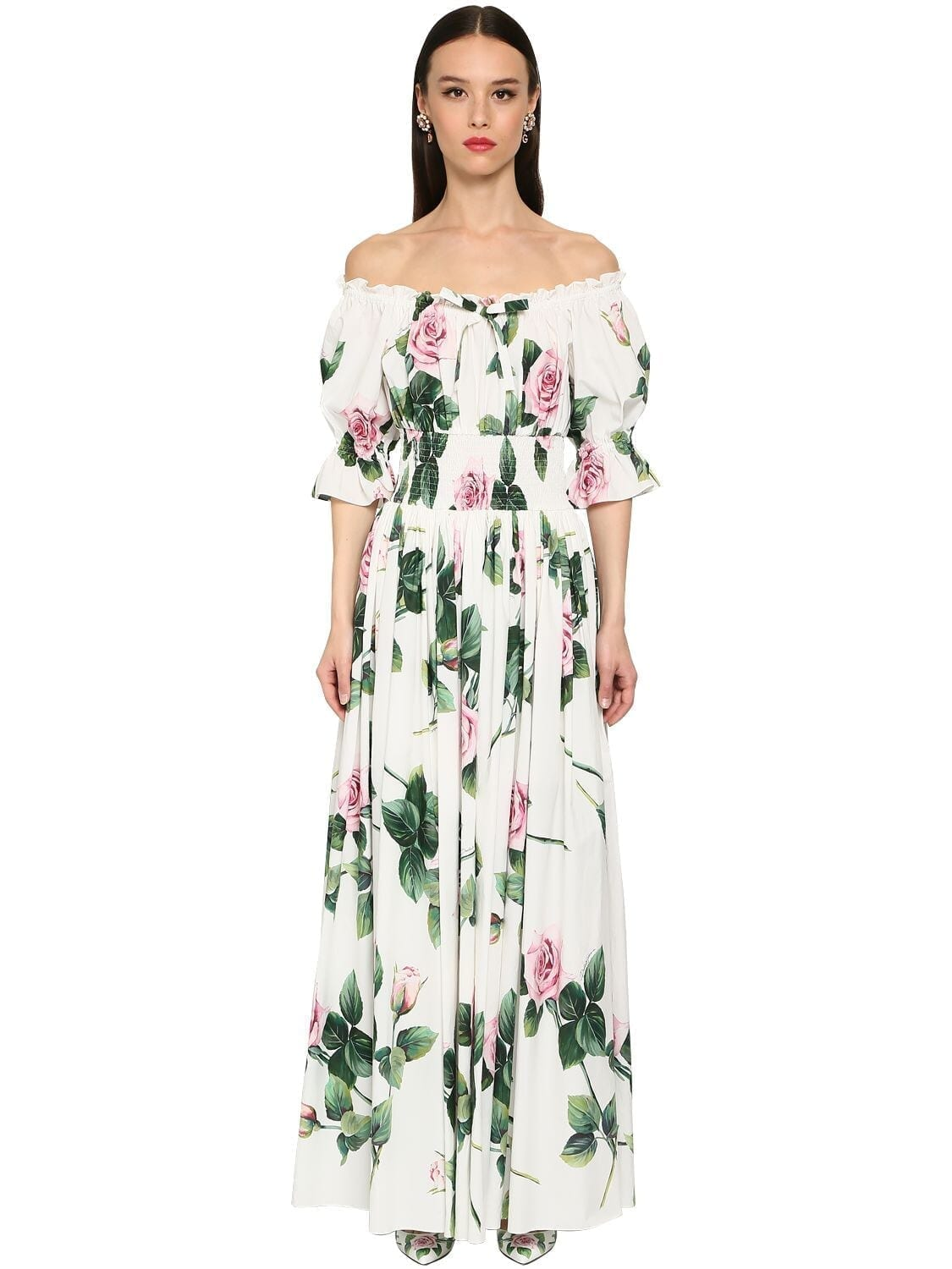 DOLCE & GABBANA Long Printed Cotton Poplin Flared Dress