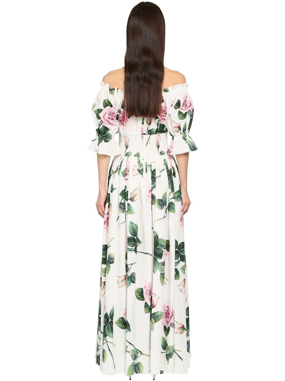 DOLCE & GABBANA Long Printed Cotton Poplin Flared Dress