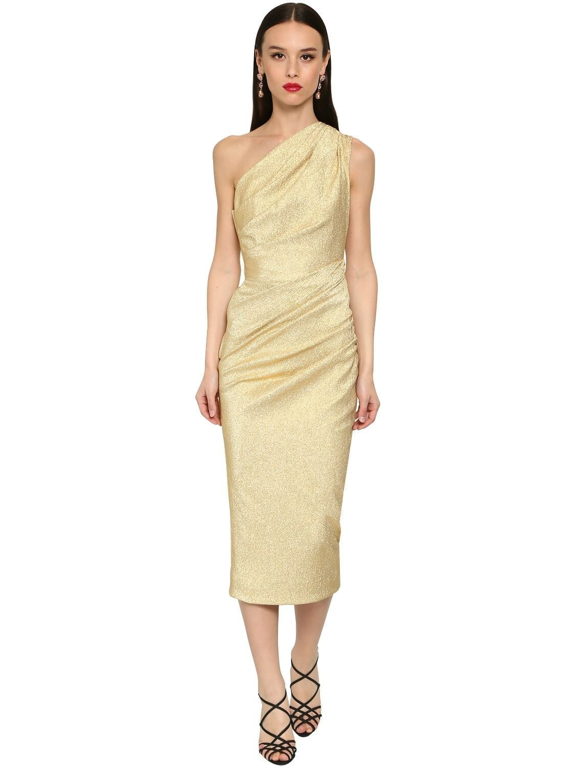 DOLCE & GABBANA One Shoulder Stretch Lamé Midi Dress