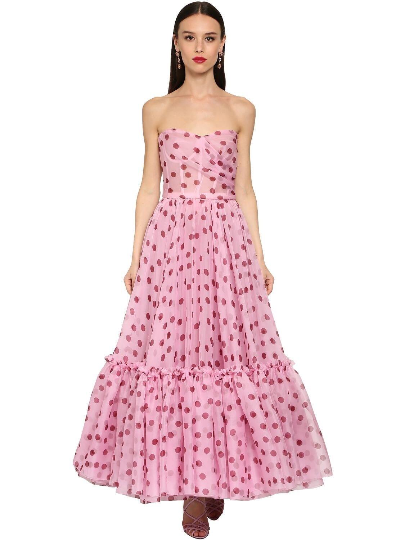 DOLCE & GABBANA Organza Polka Dot Bustier Midi Dress