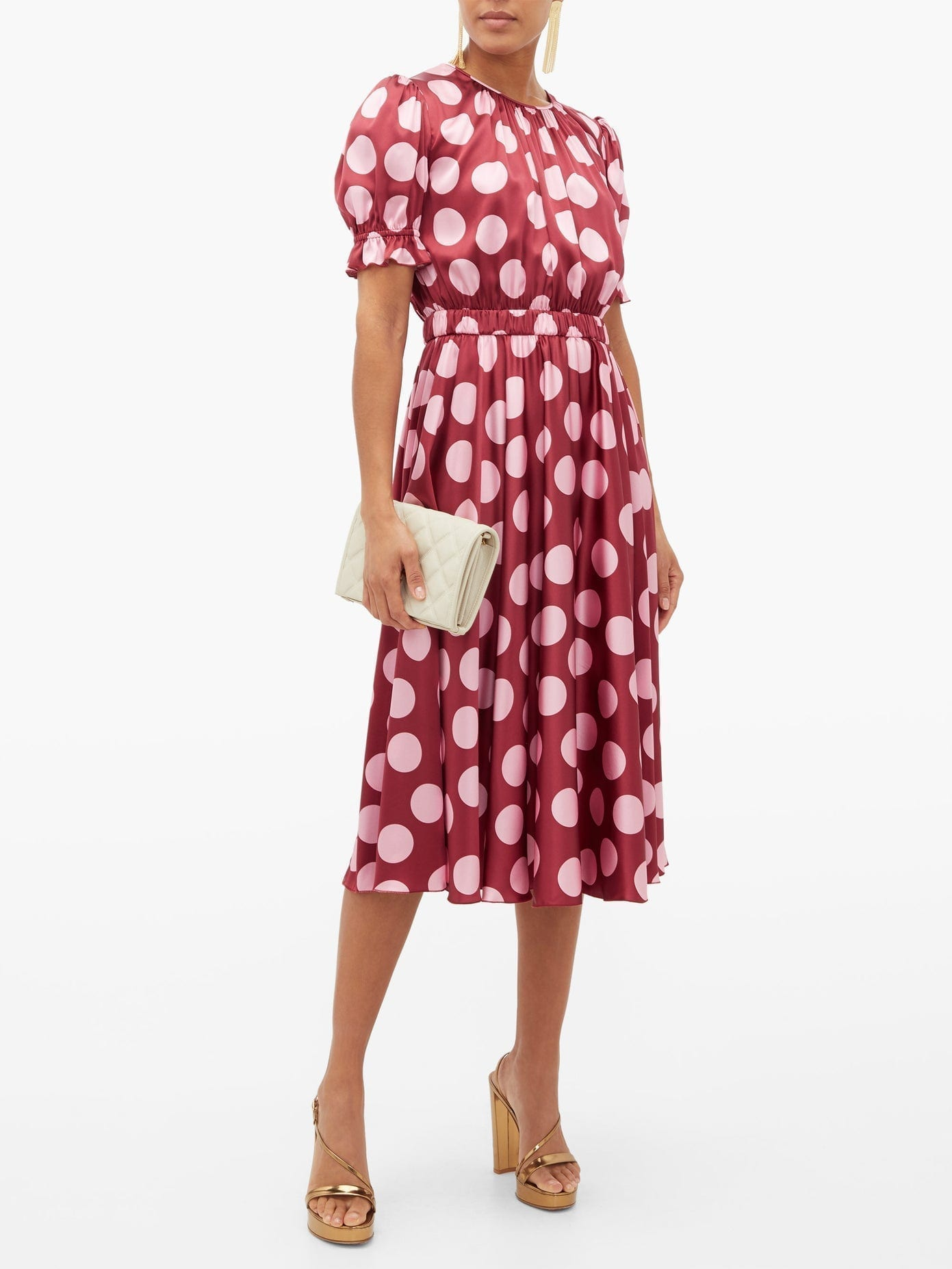 DOLCE & GABBANA Polka Dot-print Silk-blend Satin Dress