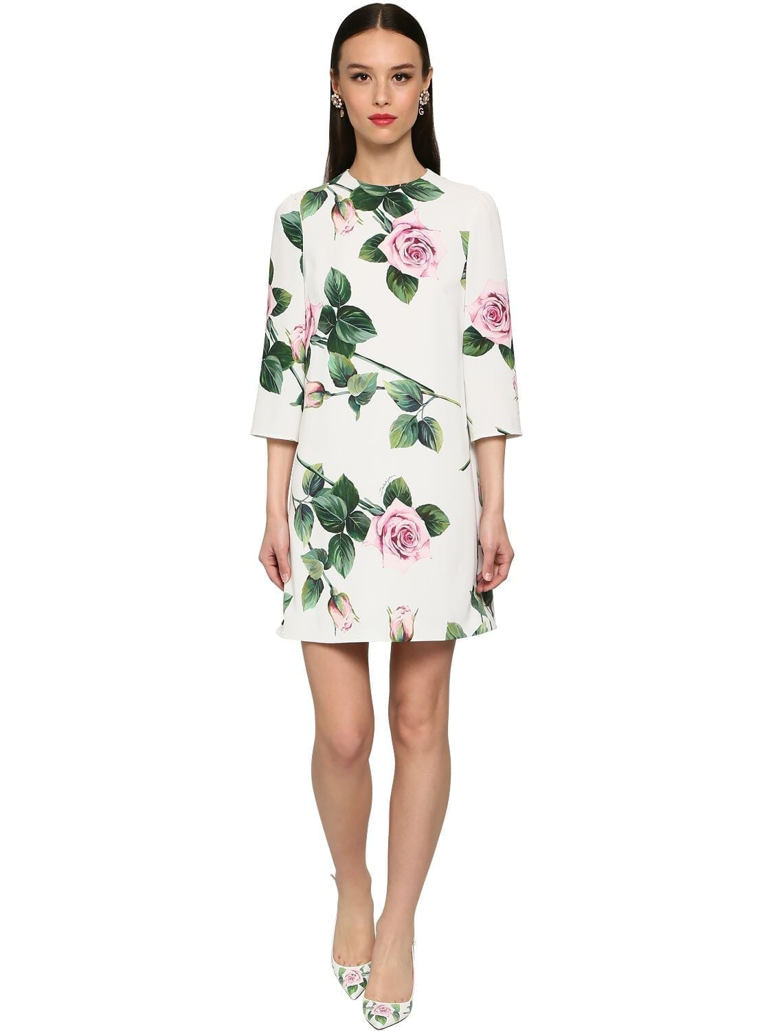 DOLCE & GABBANA Printed Cady Stretch Mini Dress